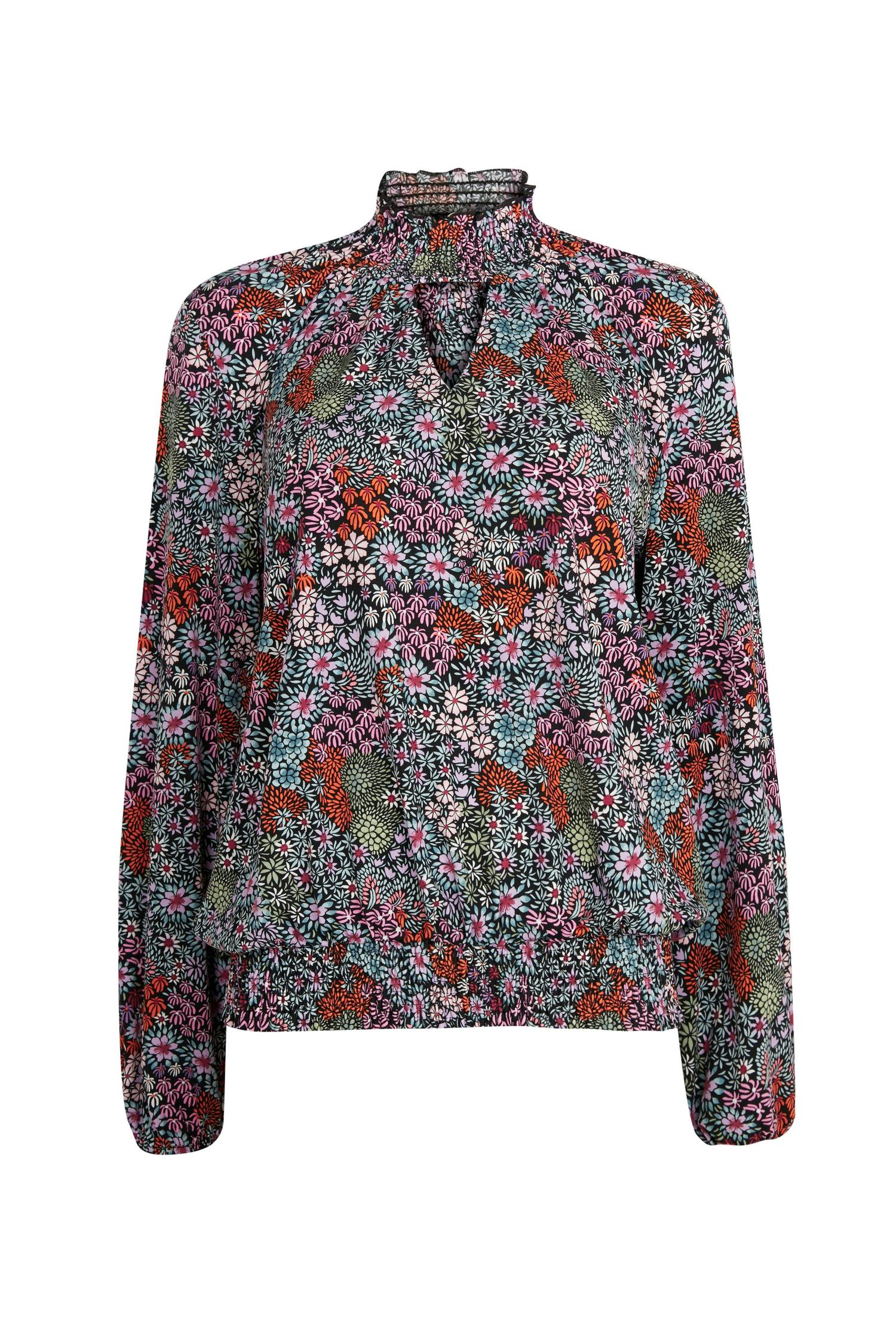 105 Black Floral Print High Neck Top image number 4