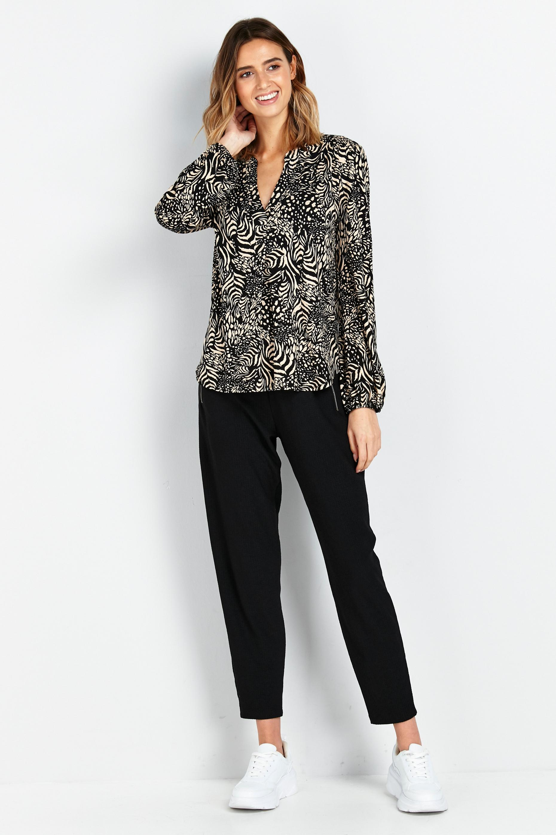 Neutral Animal Print Jersey Top