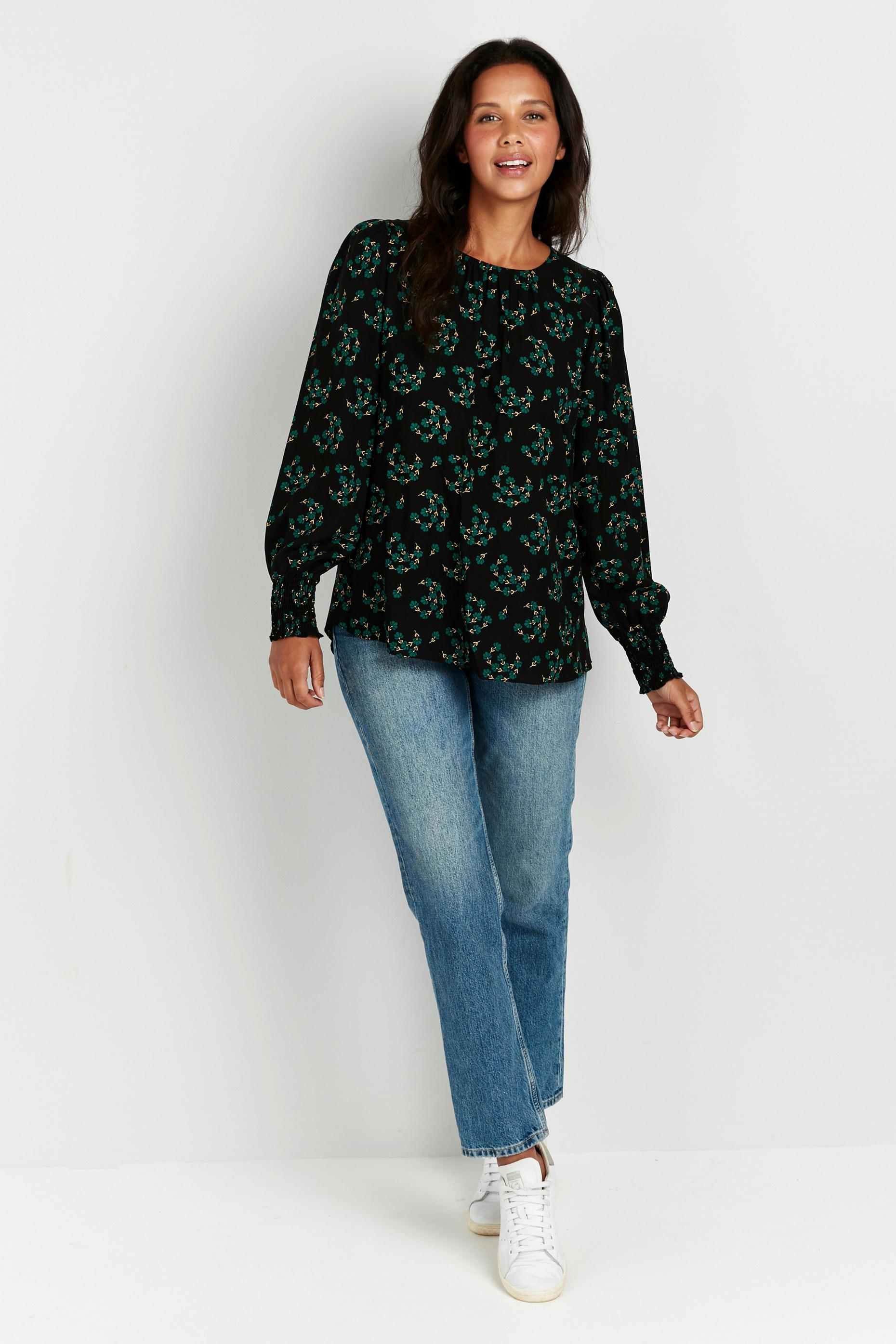 Green Floral Print Puff Sleeve Top