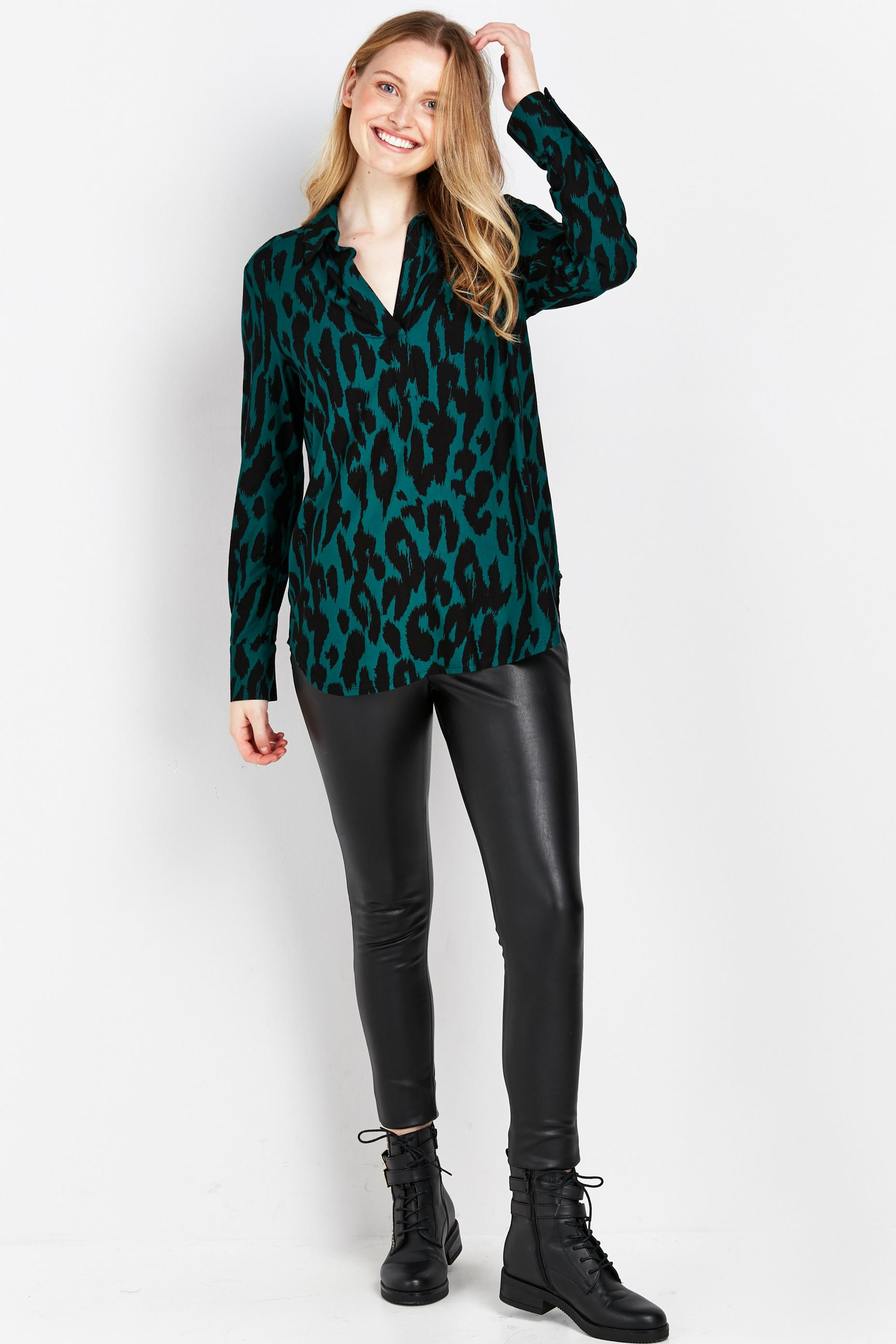 Green Animal Print Jersey Shirt