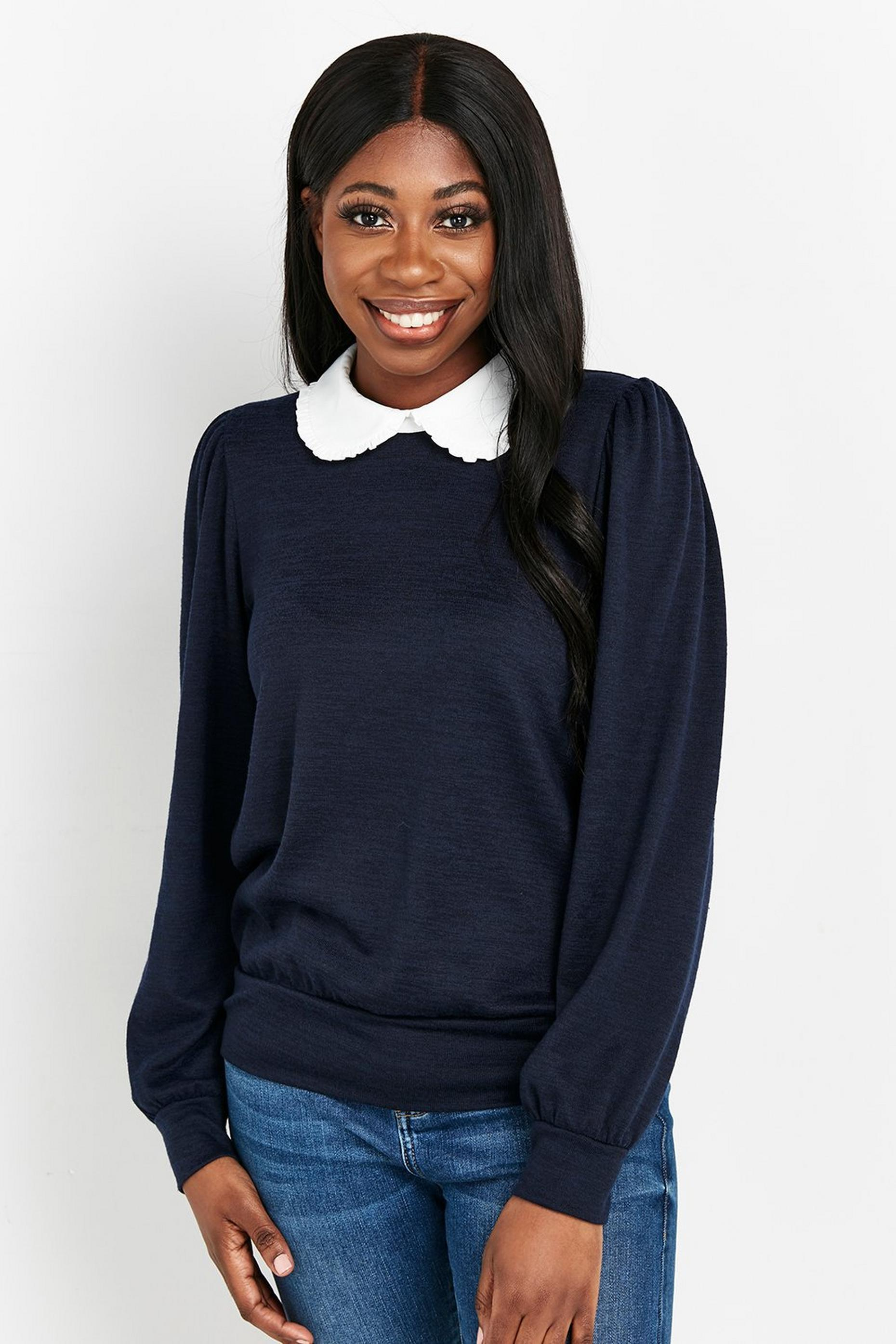 Navy Shirt Collar Contrast Top