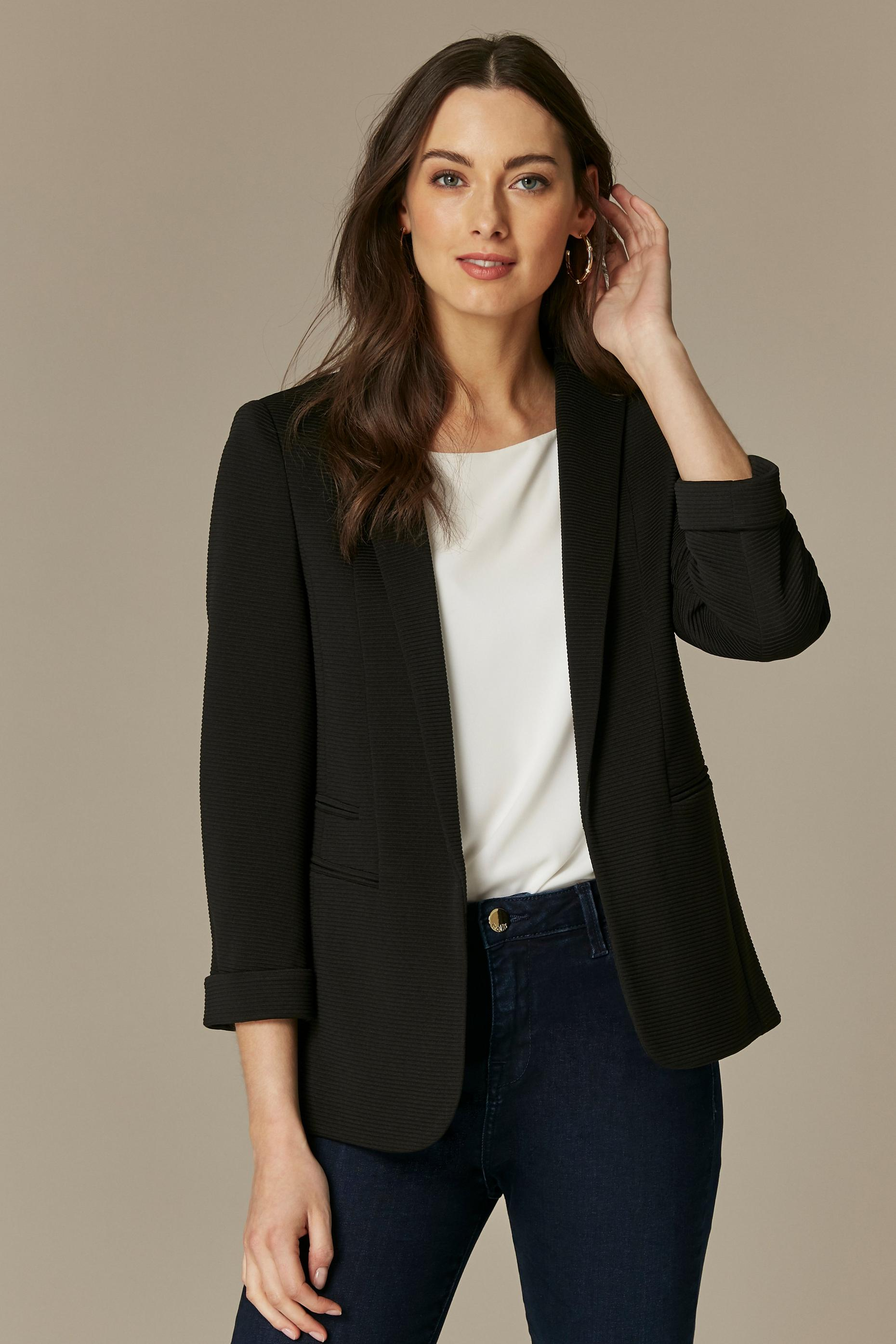 Black Ribbed Blazer