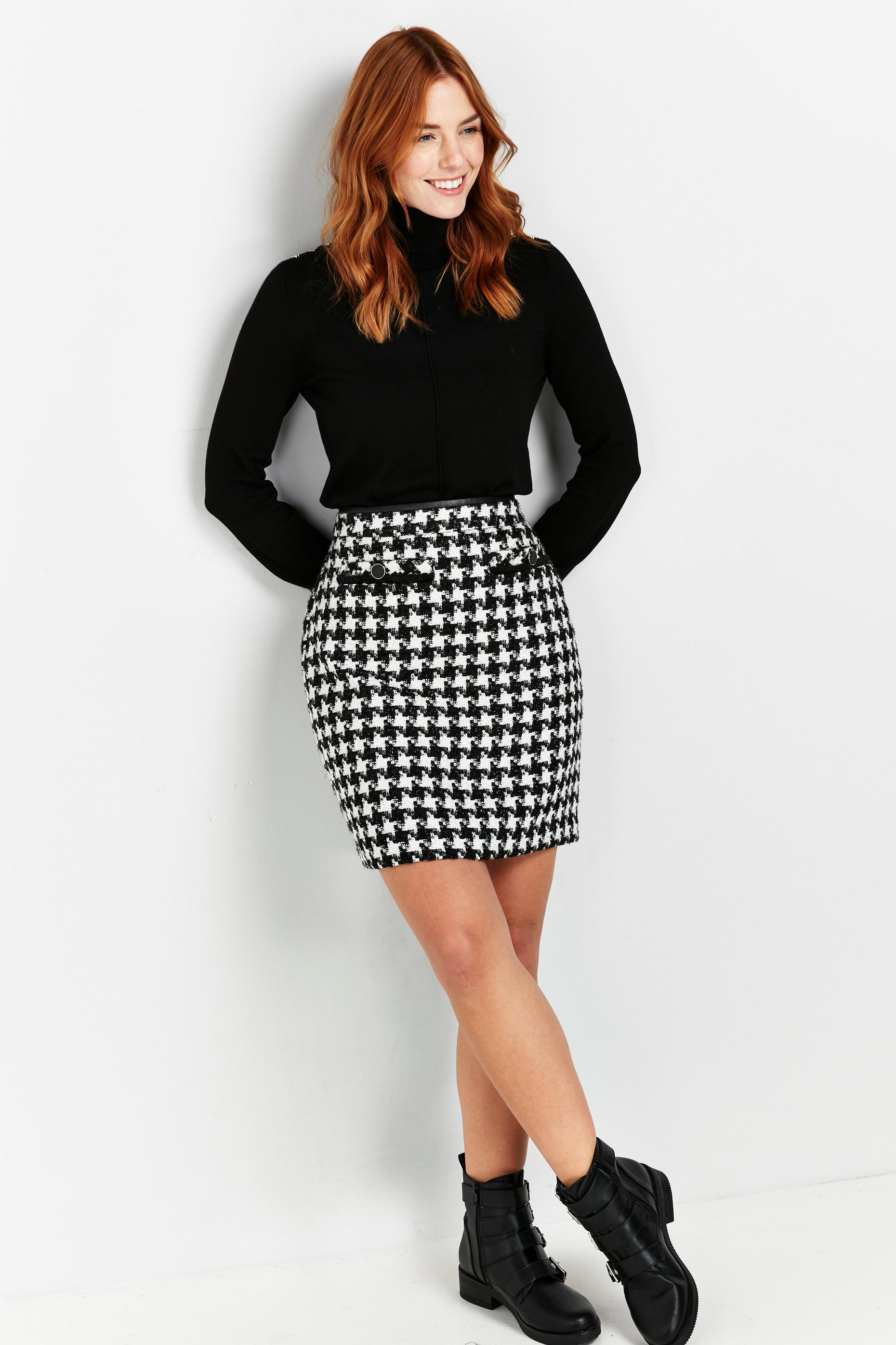 Monochrome Check Print Skirt