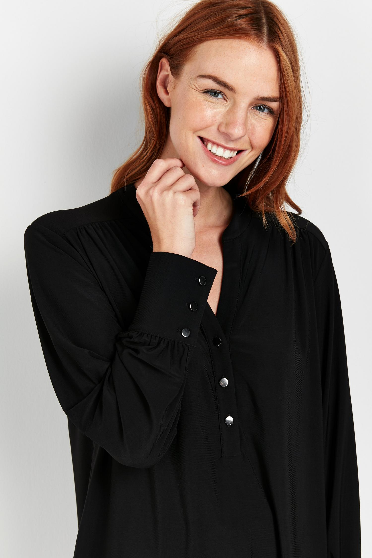 105 Black Button Detail Shirt image number 3