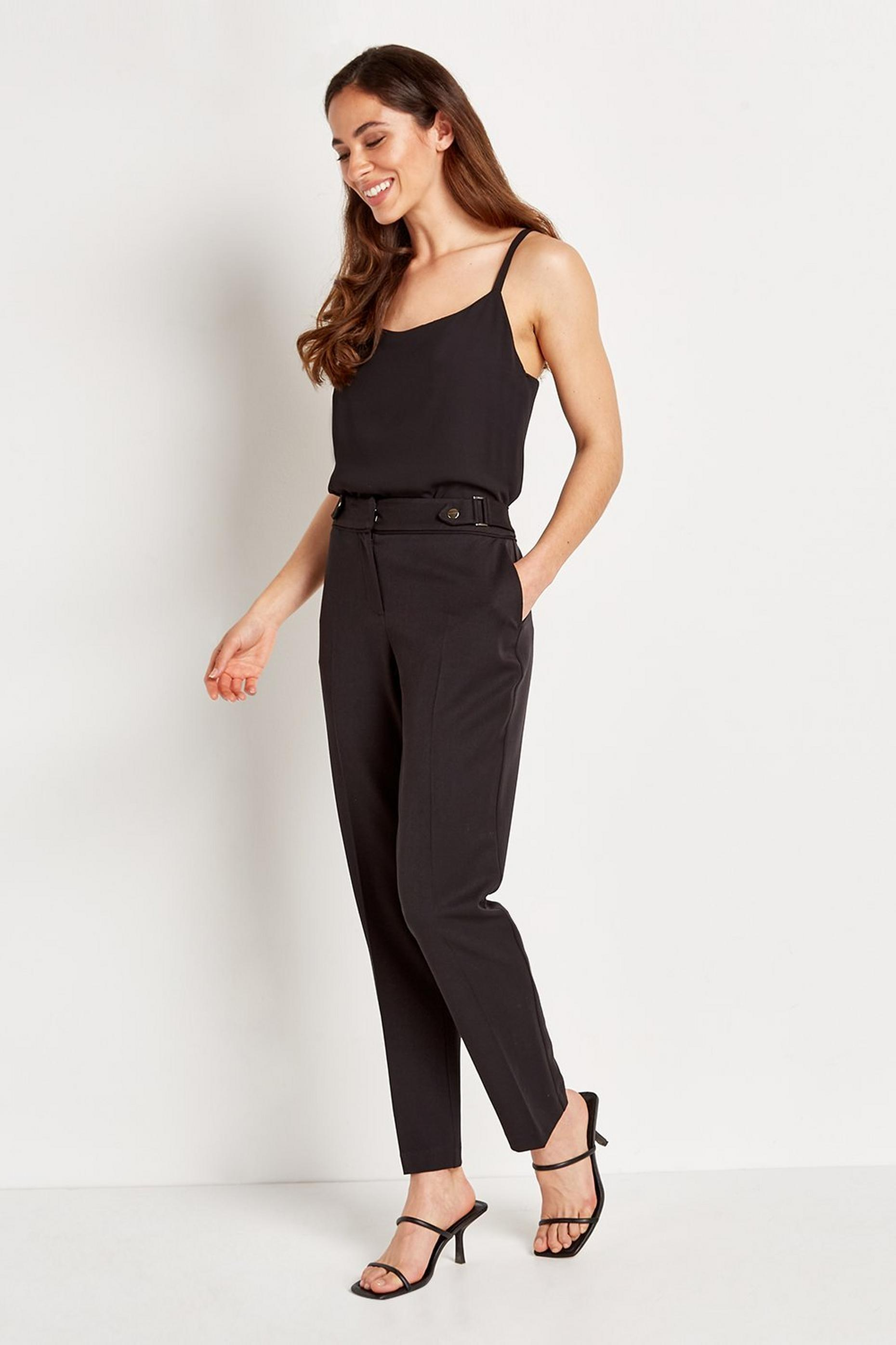 Black Stud Detail Tapered Trousers