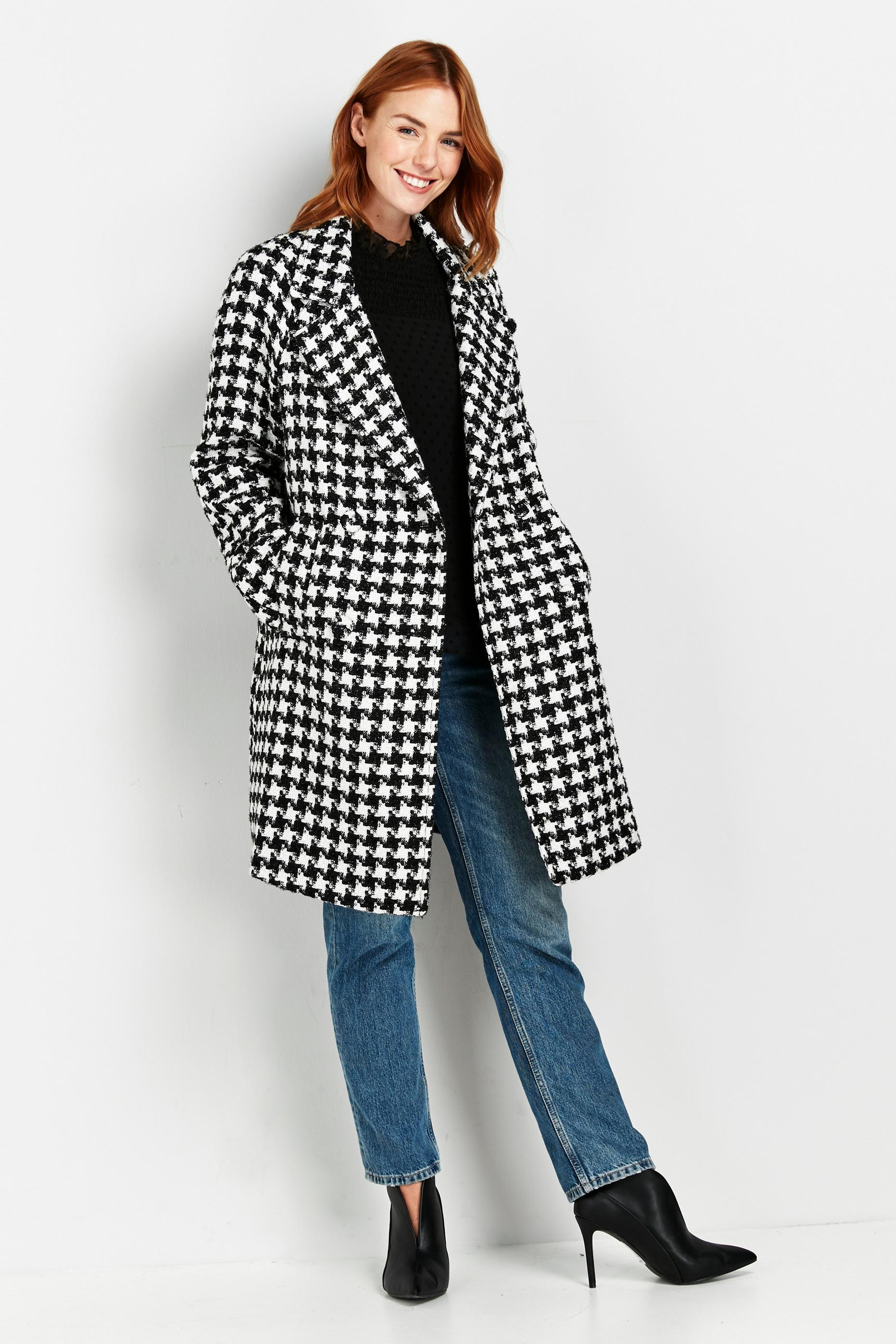 Monochrome Check Print Coat