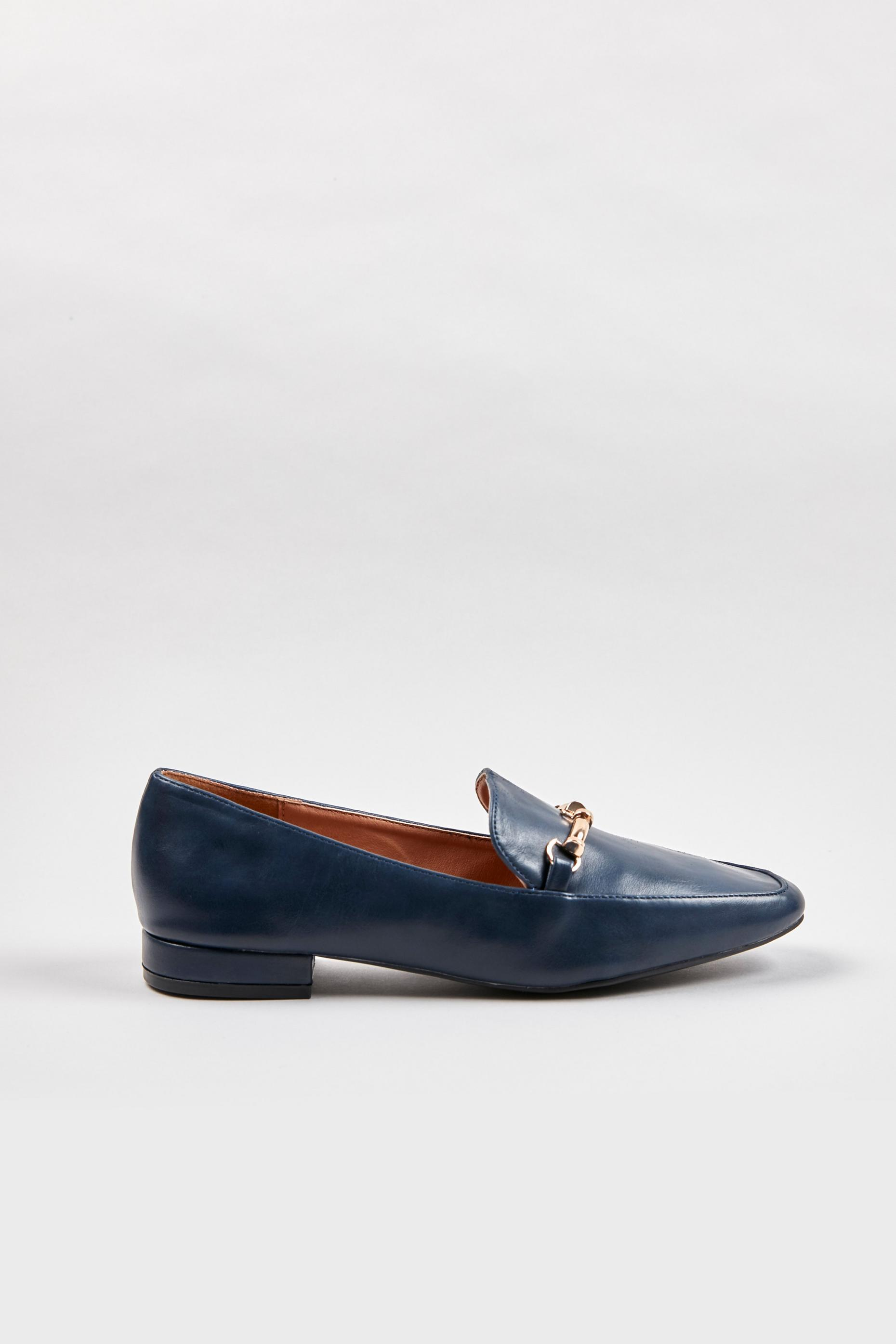 Navy Soft Square Trim Loafers