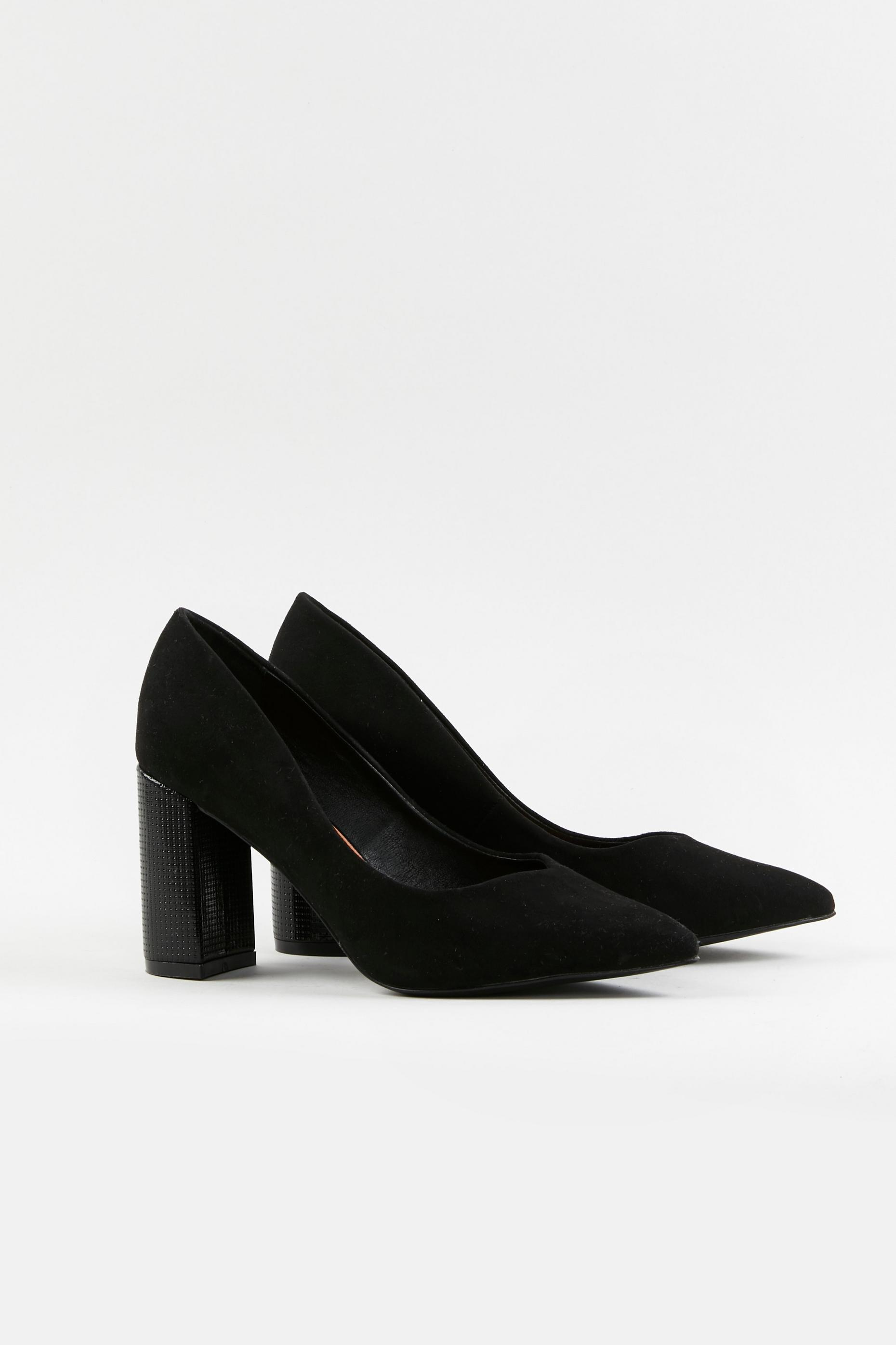 WIDE FIT Black Block Heel Shoes