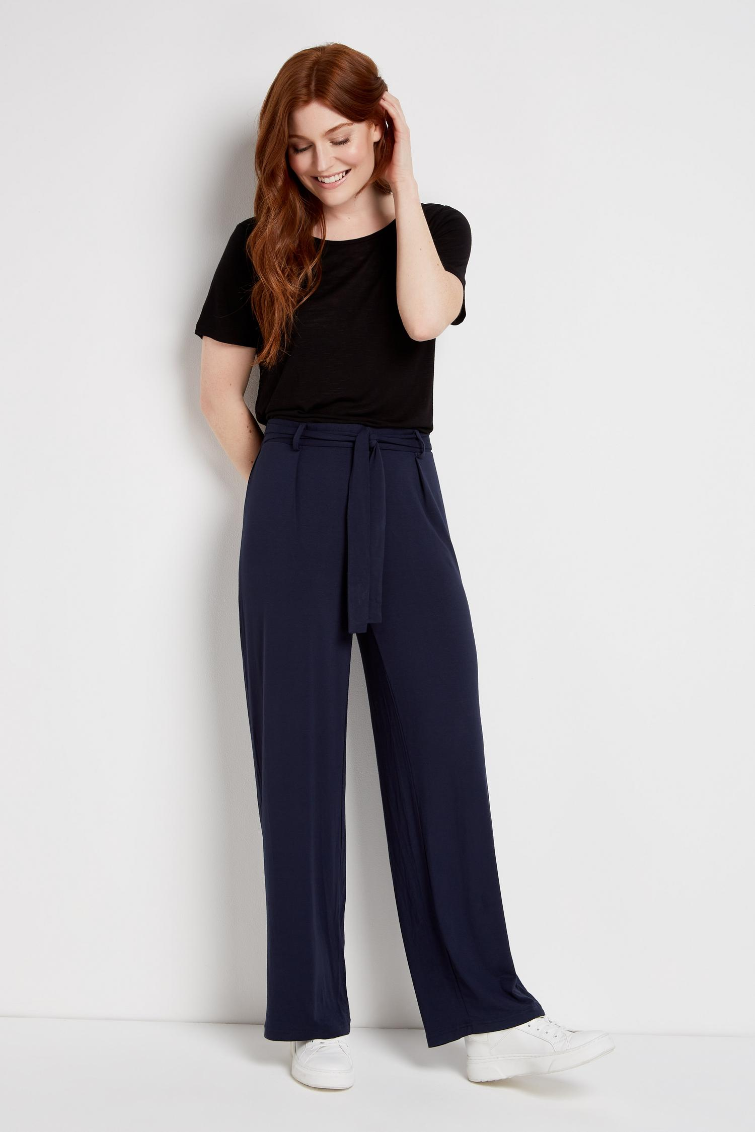 148 Navy Jersey Wide Leg Trouser image number 3