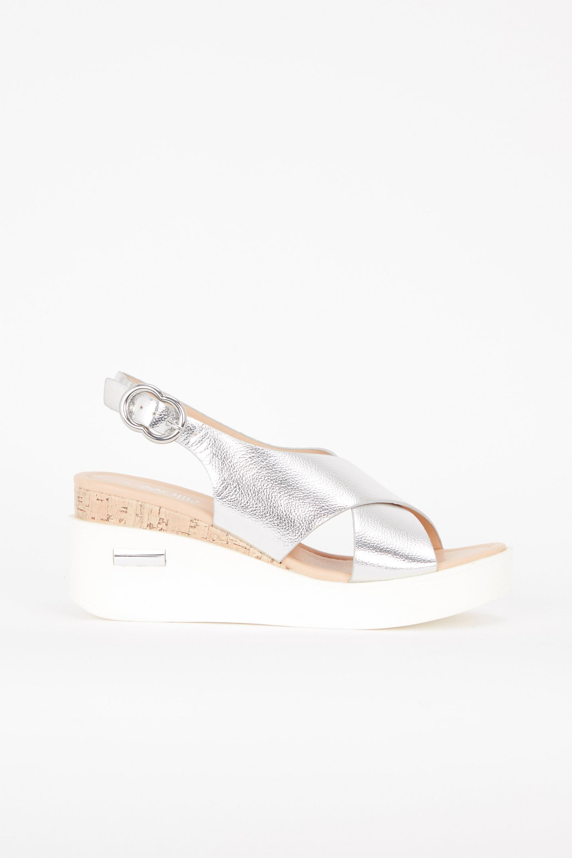 Silver Strap Wedge Shoes