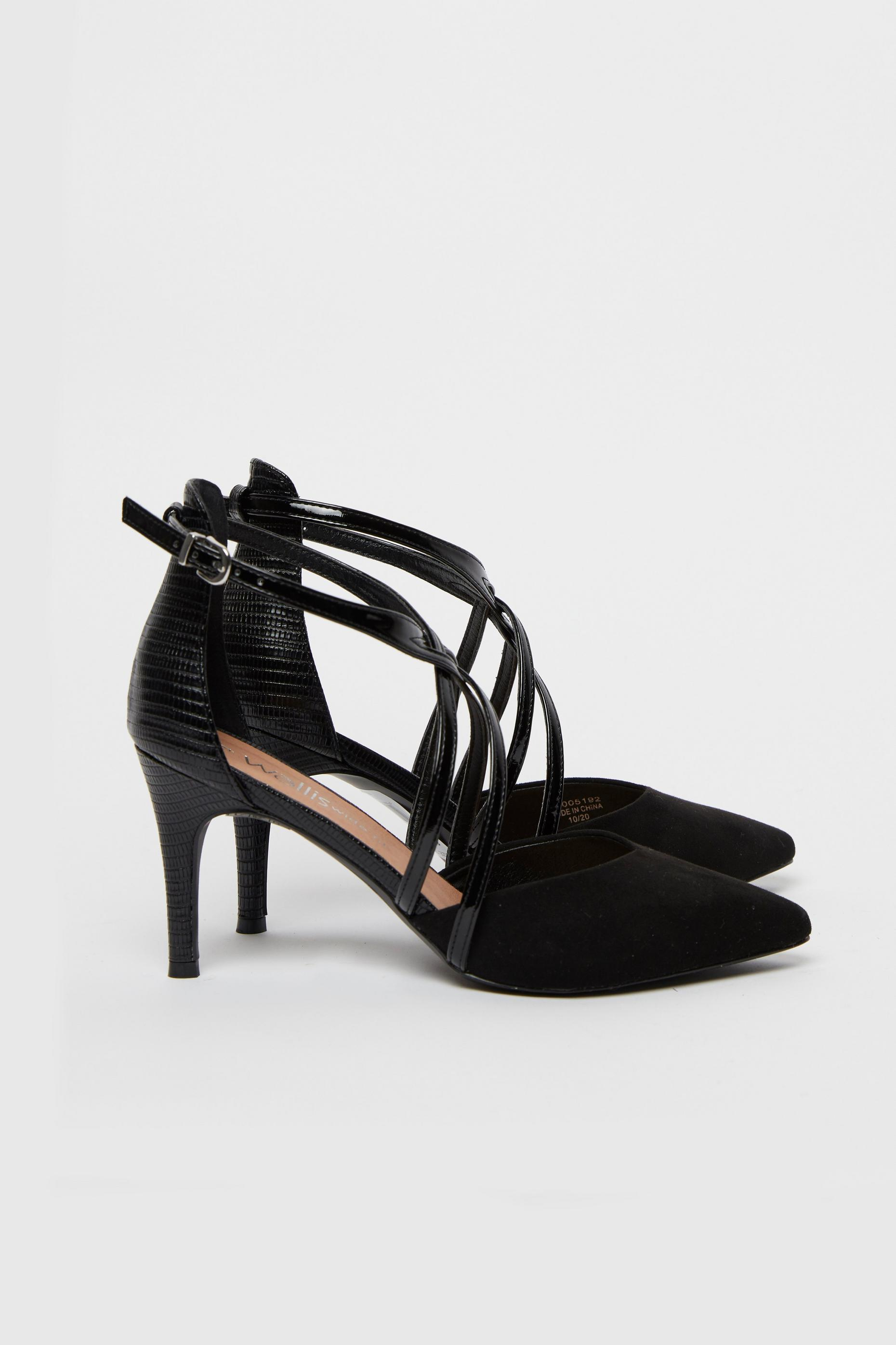 WIDE FIT Black Strappy Pointed Heel