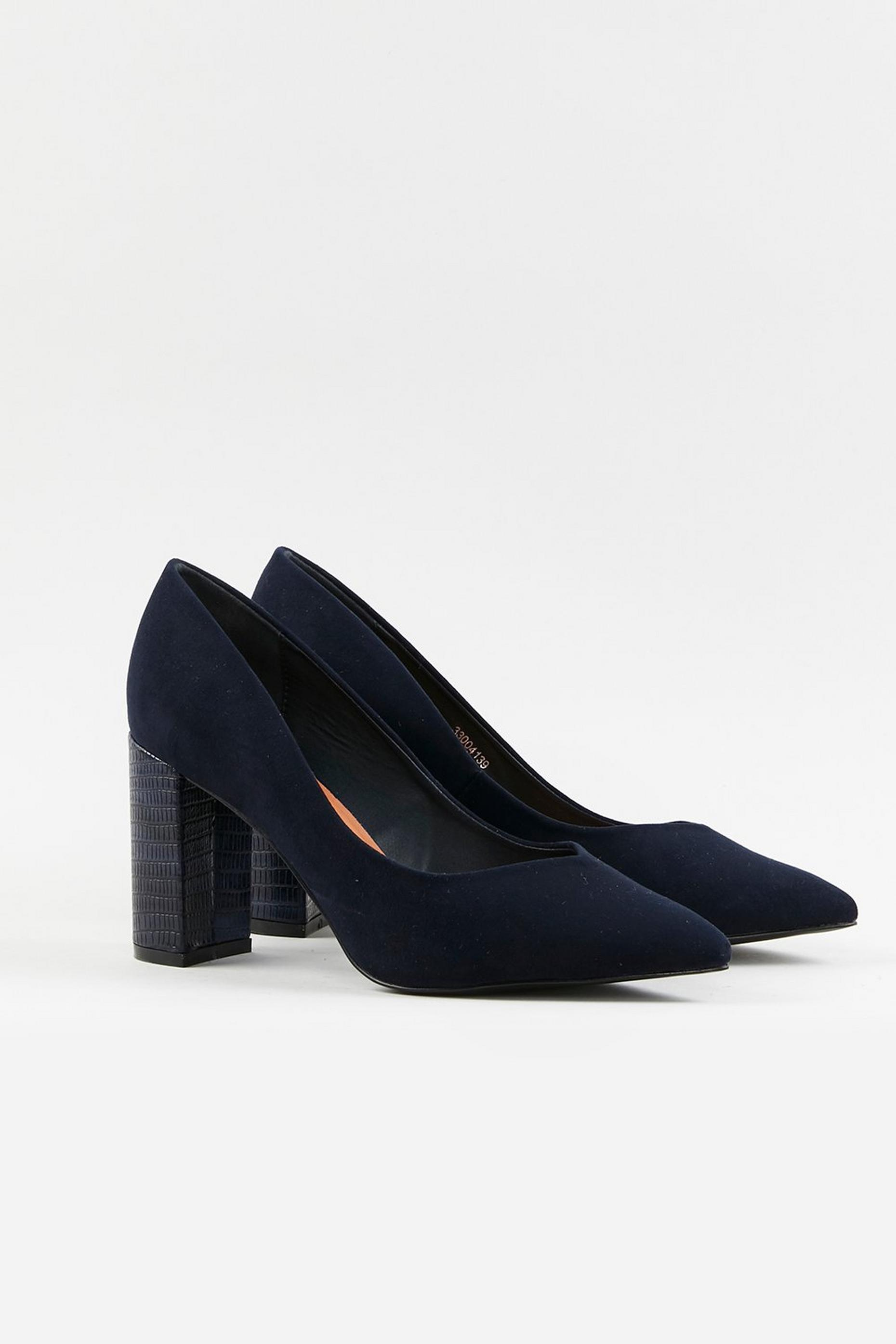 WIDE FIT Navy Block Heel Shoes