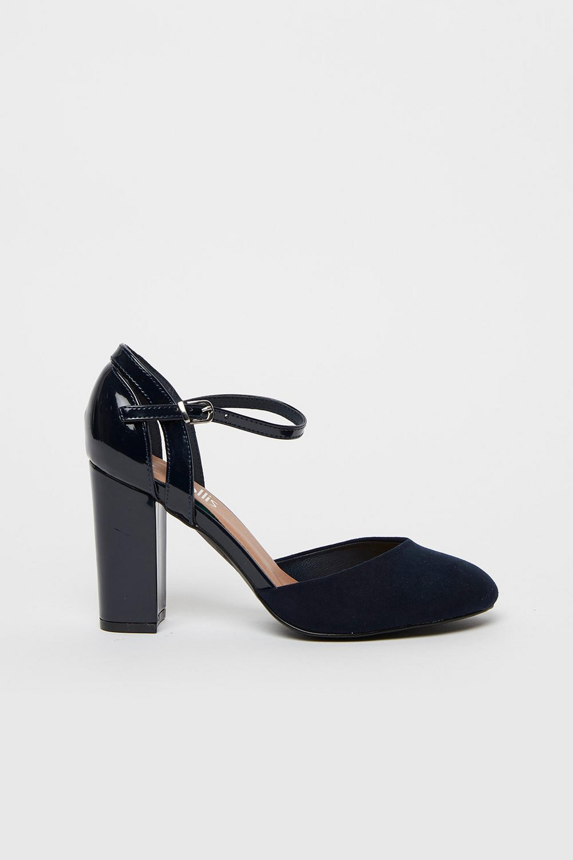 Navy Round Toe Block Heels