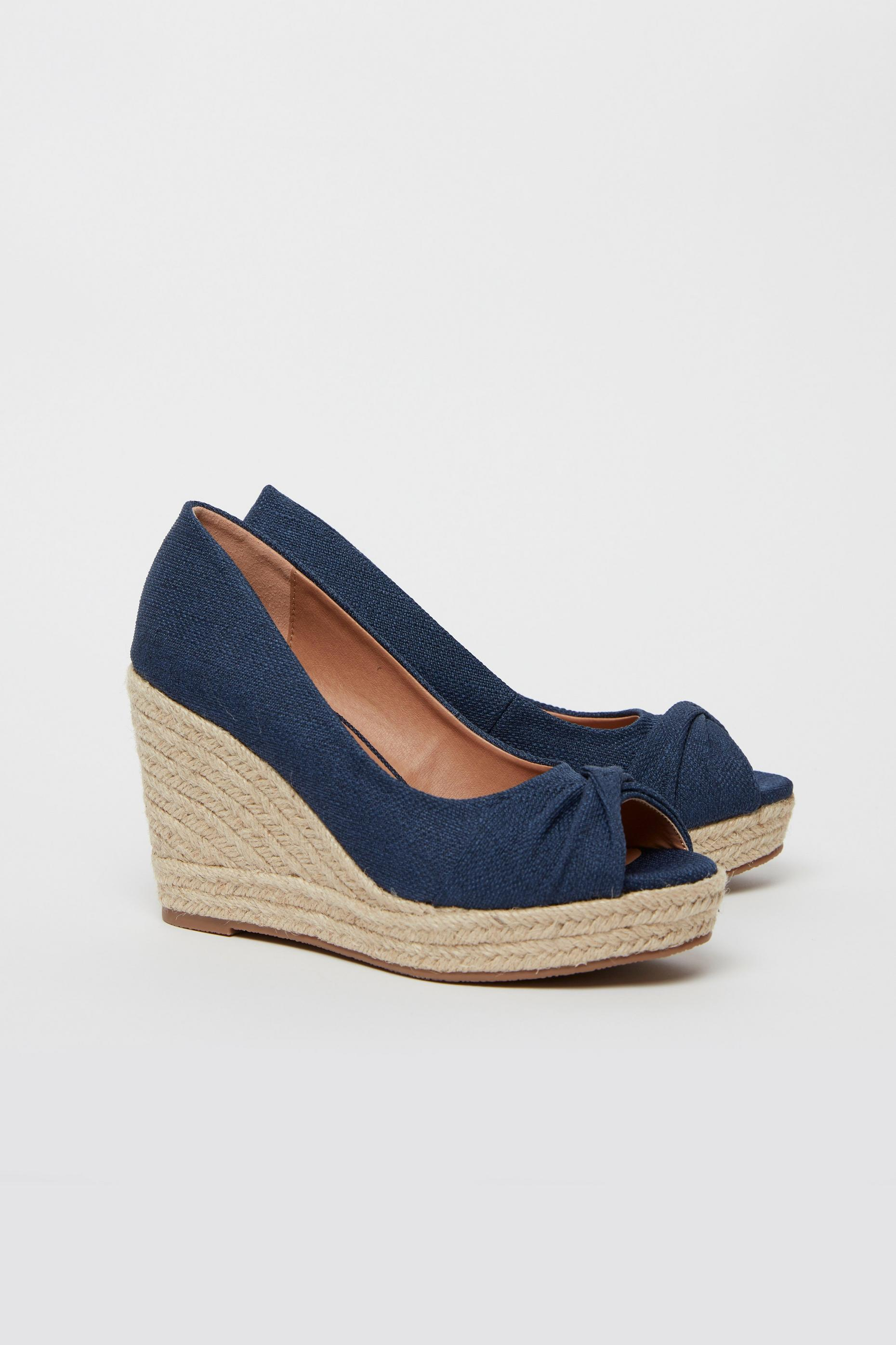 WIDE FIT Navy Knot Front Espadrille Wedge