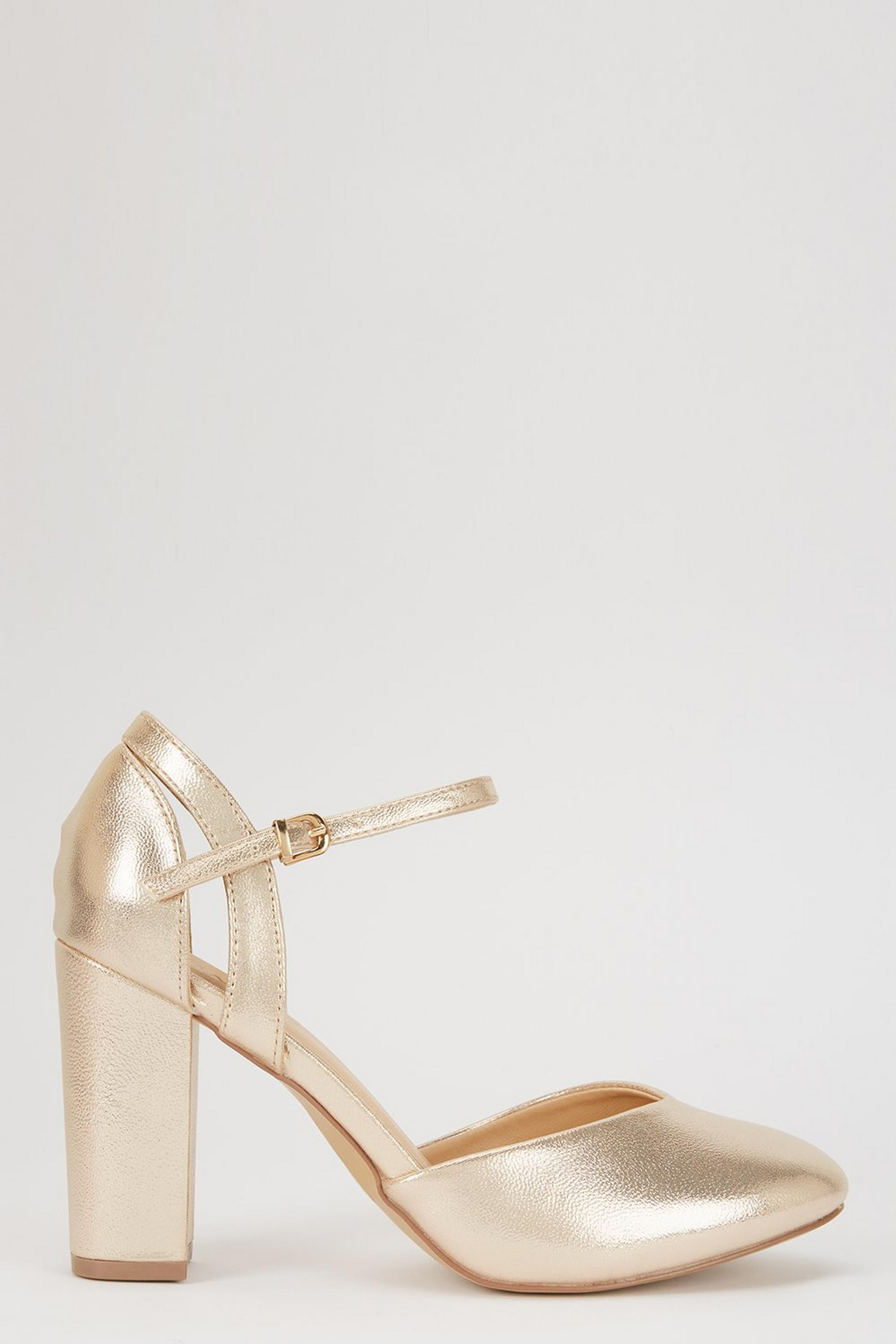 Gold Round Toe Block Heel