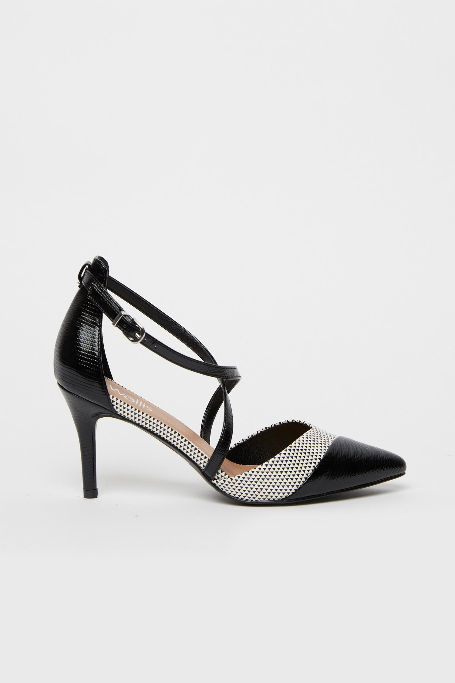 585 Monochrome Cross Strap Heels image number 2