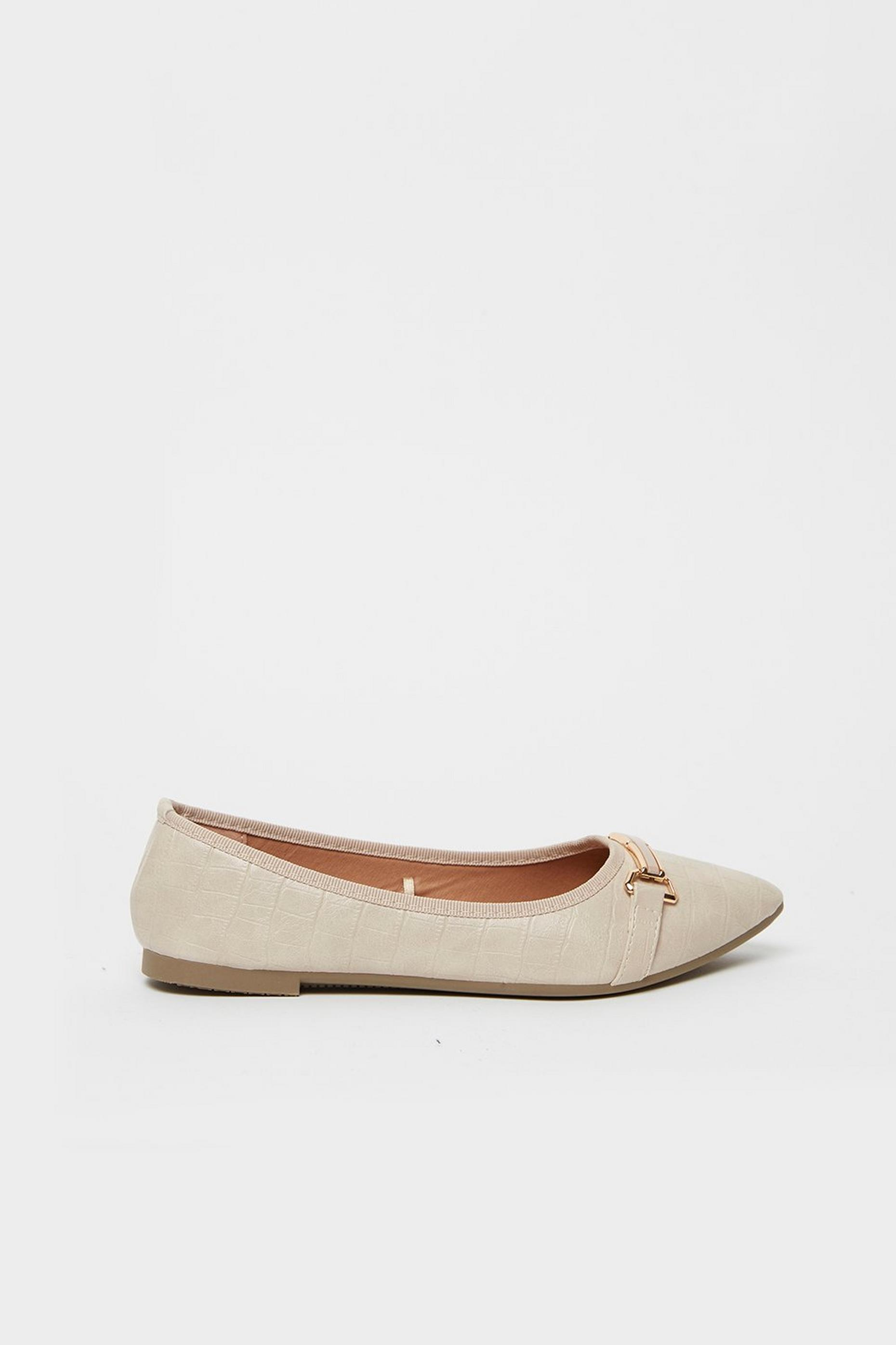 Nude Trim Detail Pointed Ballet Pump