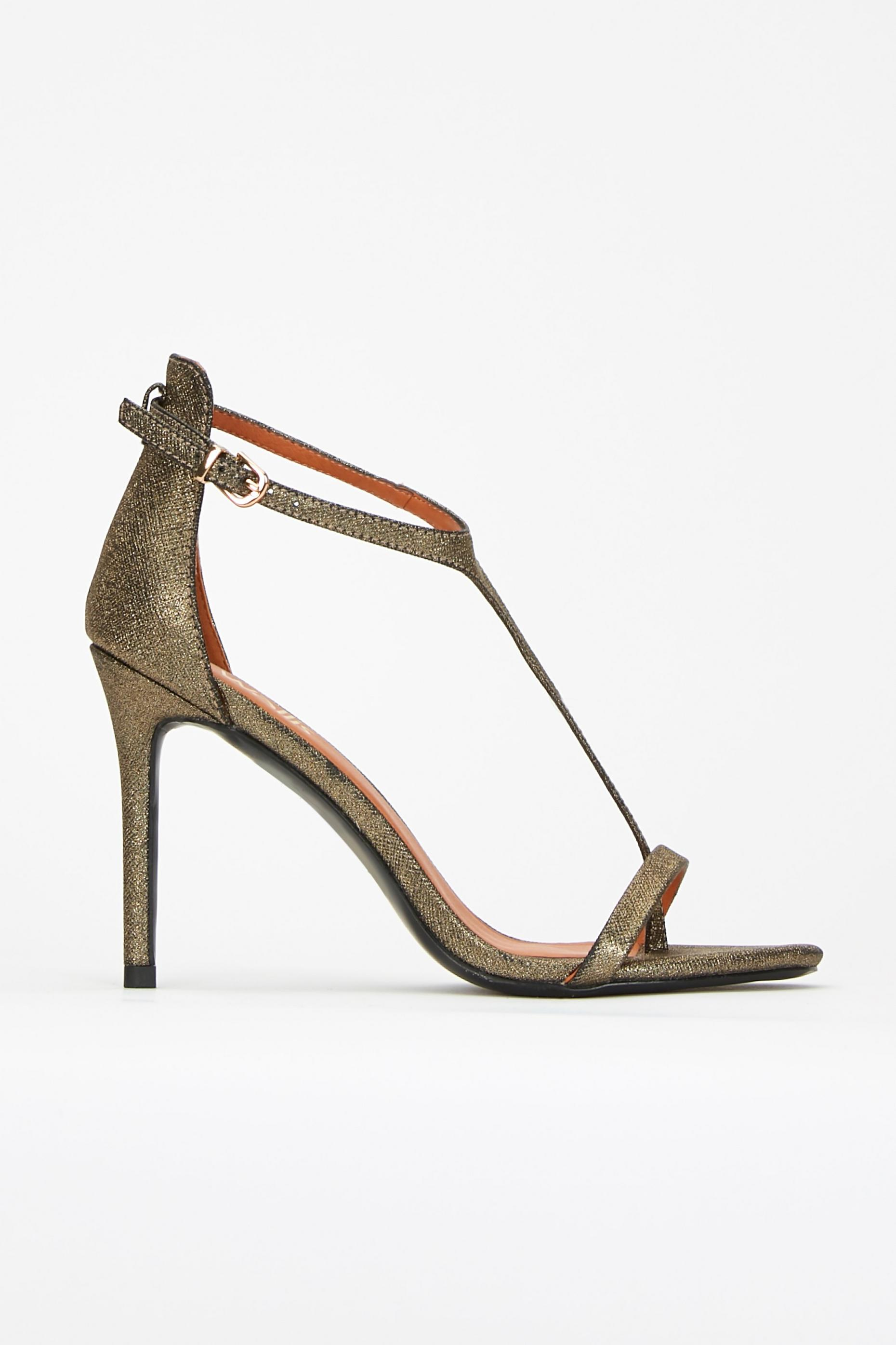 Gold T Bar Heeled Sandal