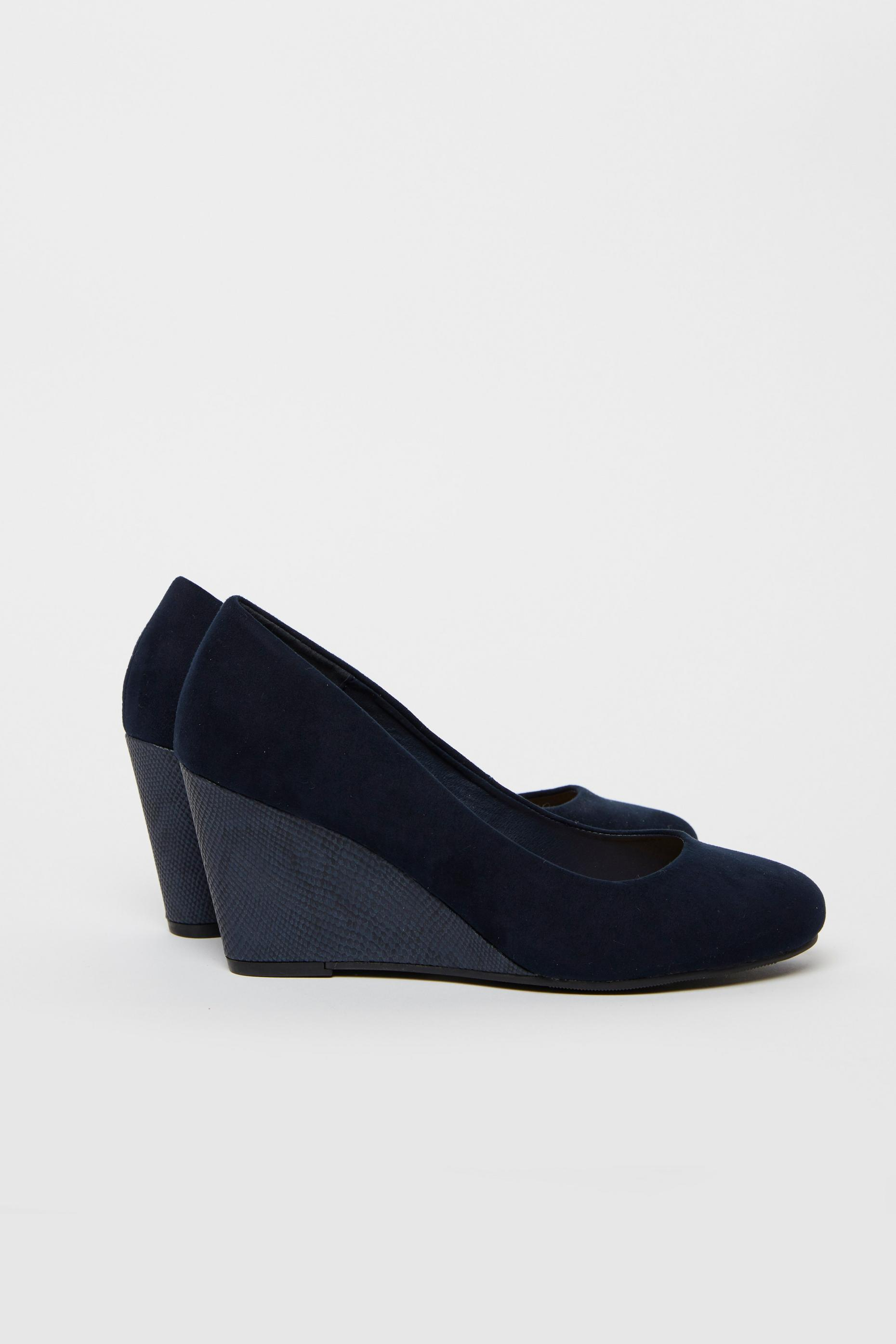 Navy Wedge Heeled Shoes