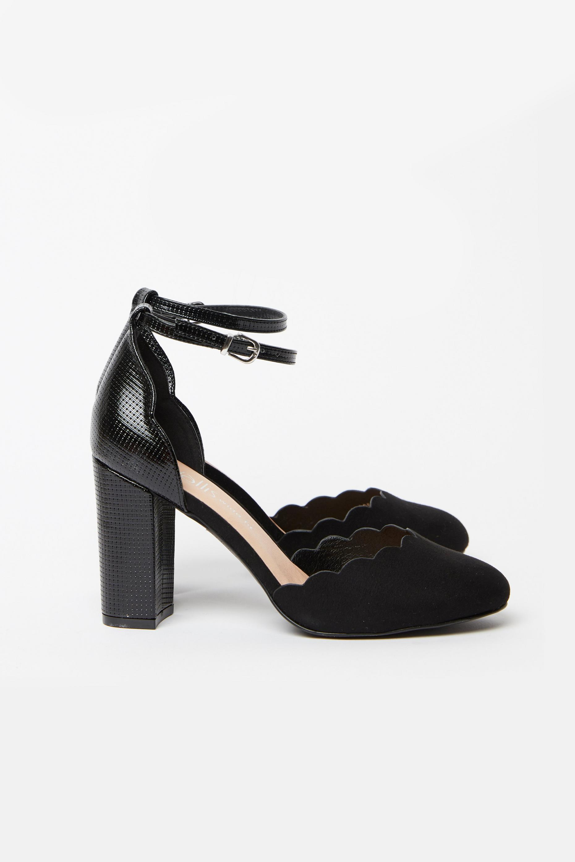 WIDE FIT Black Scallop Edge Heel