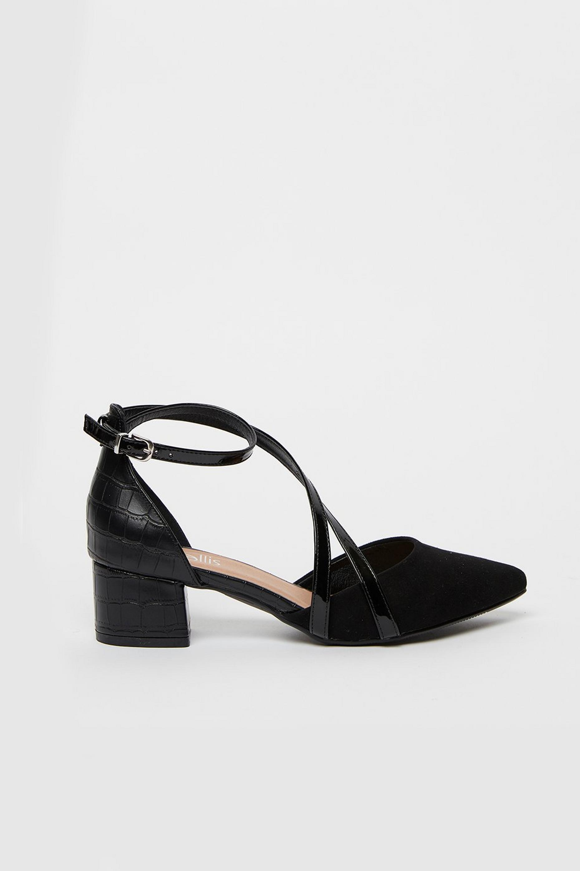 Black Cross Strap Pointed Block Heels