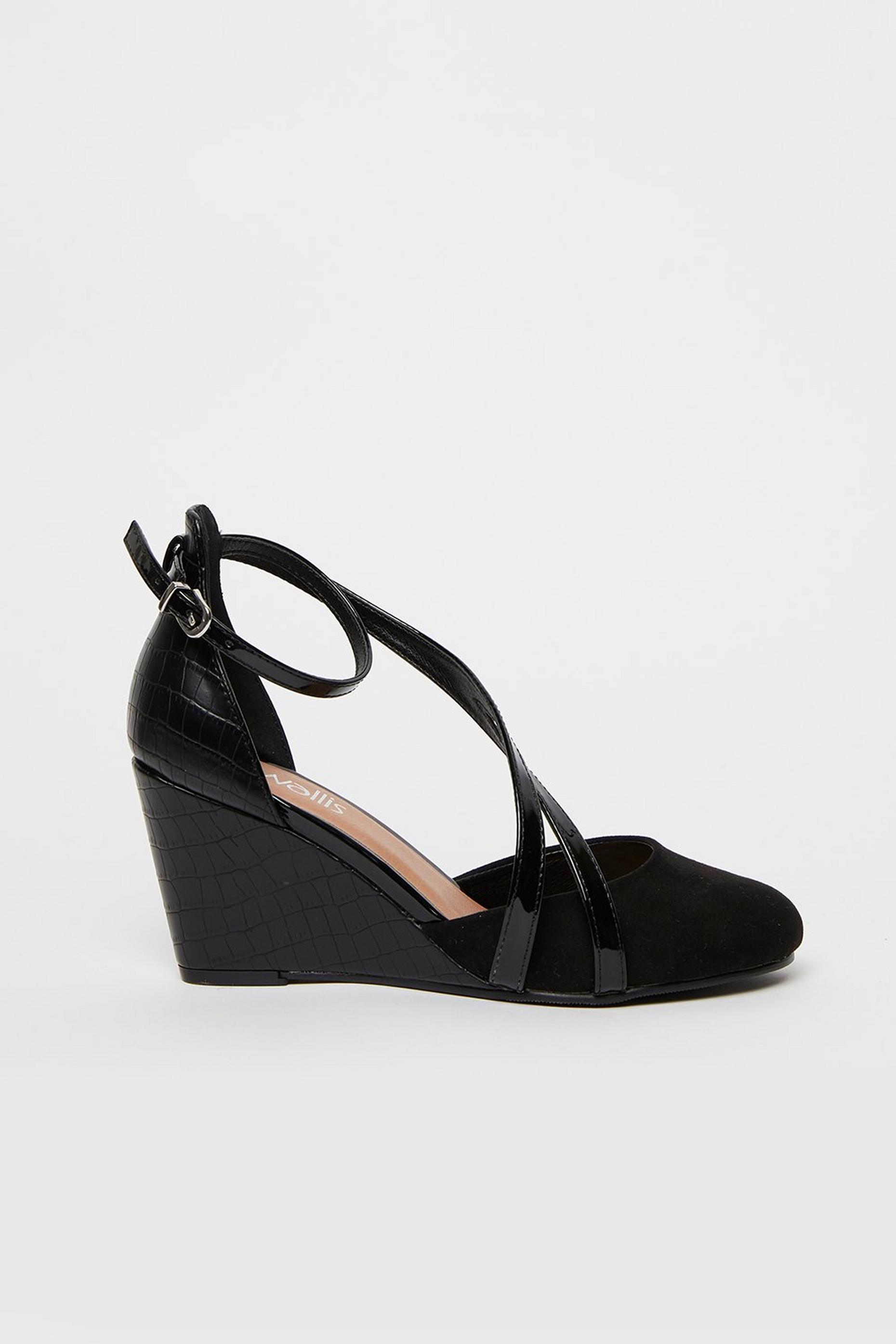 Black Double Strap Wedge