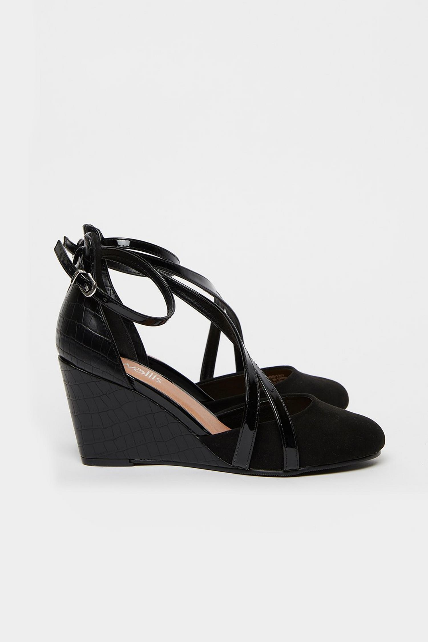 105 Black Double Strap Wedge image number 2