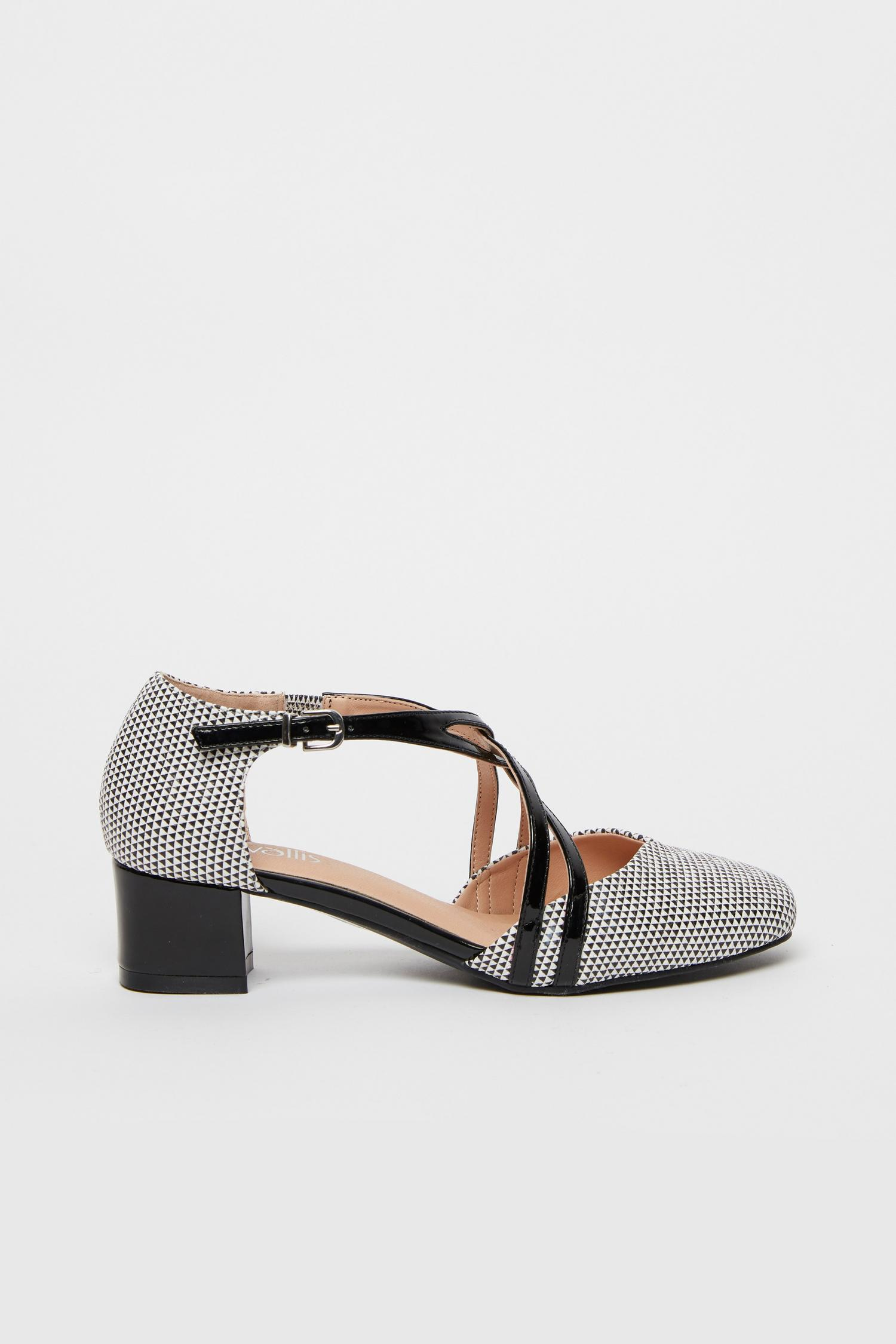585 Monochrome Cross Strap Block Heel image number 2