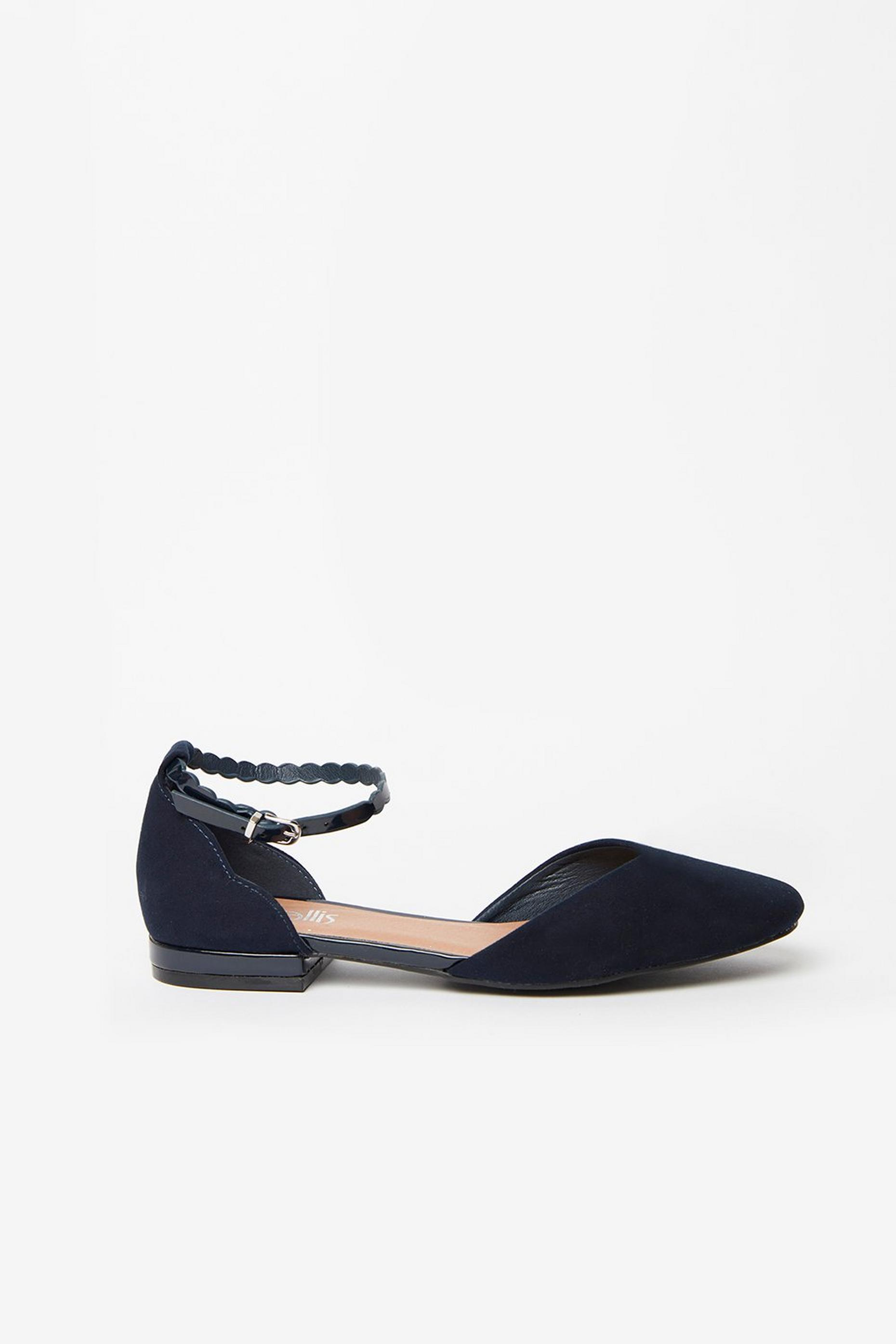 Navy Ankle Strap Shoe