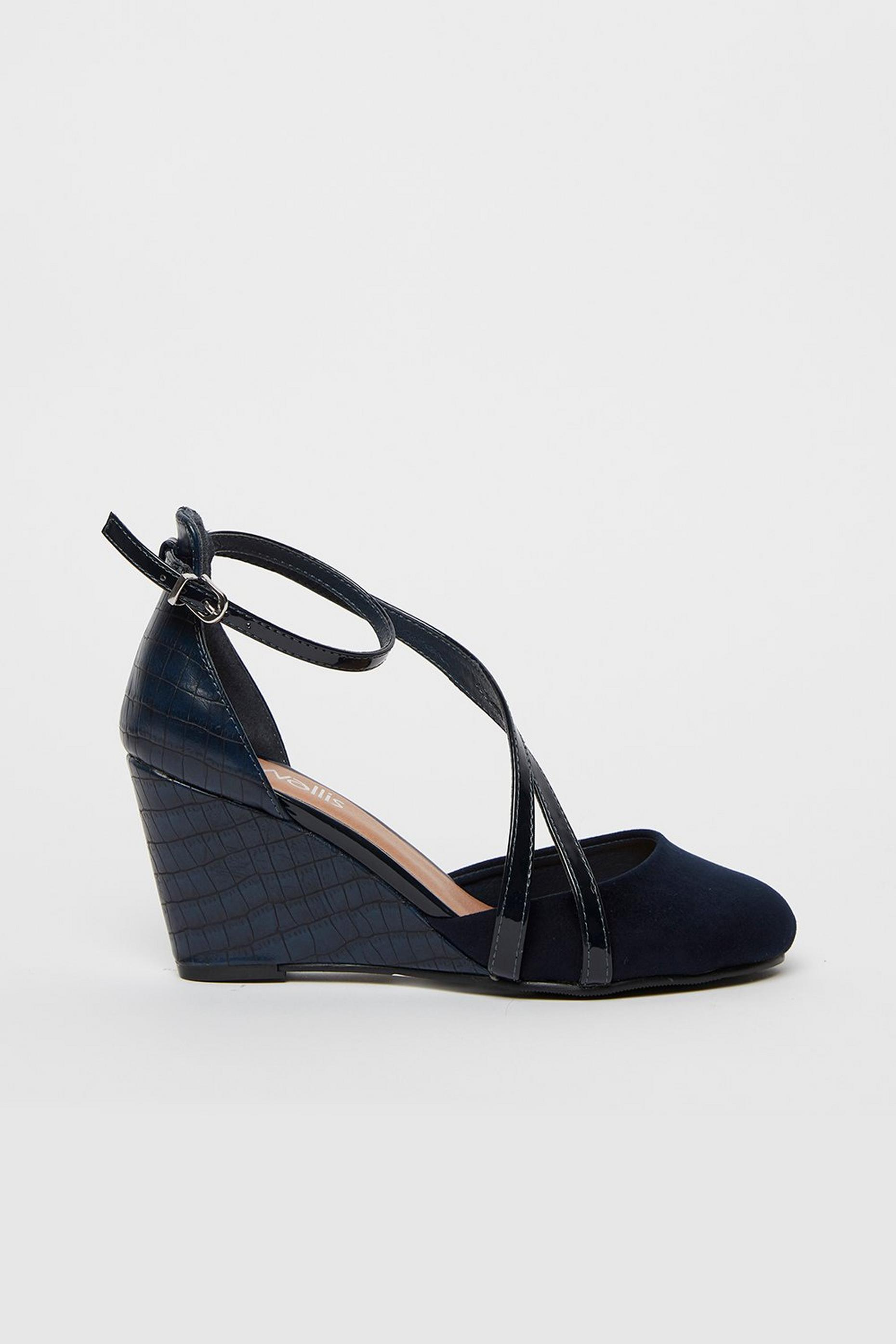 Navy Double Strap Wedge