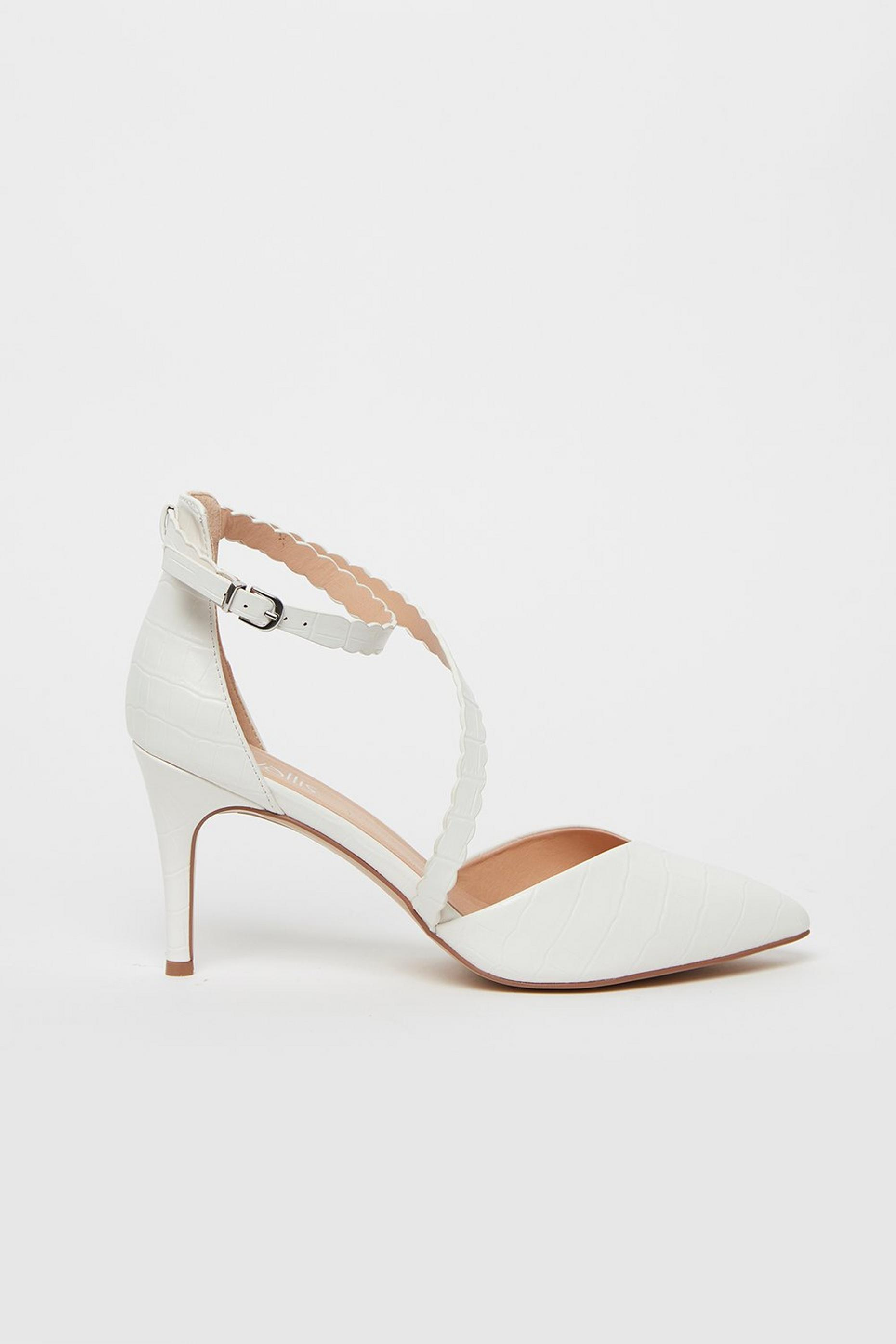 White Strappy Pointed Heels