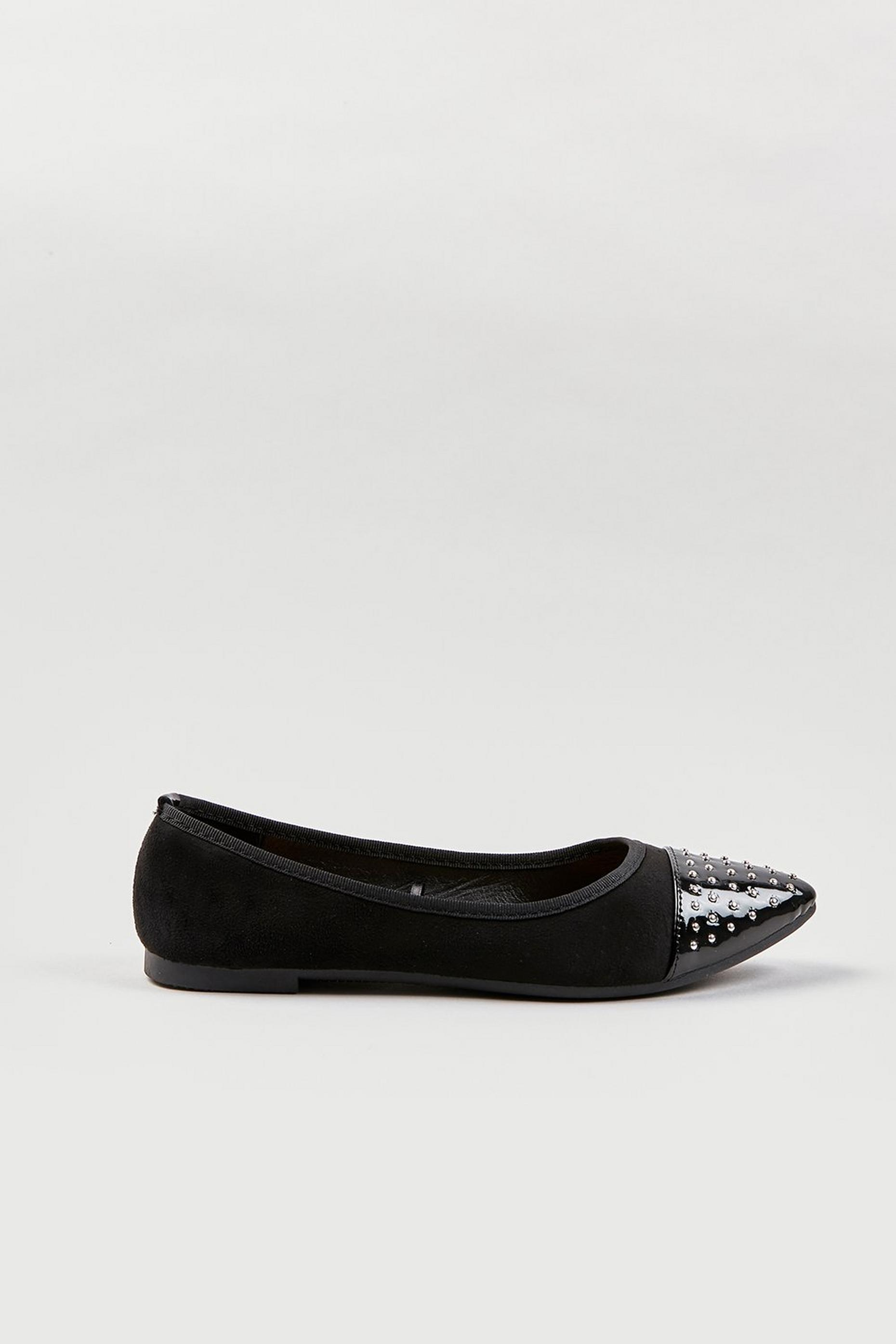 Black Studded Pointed Ballet Pumps