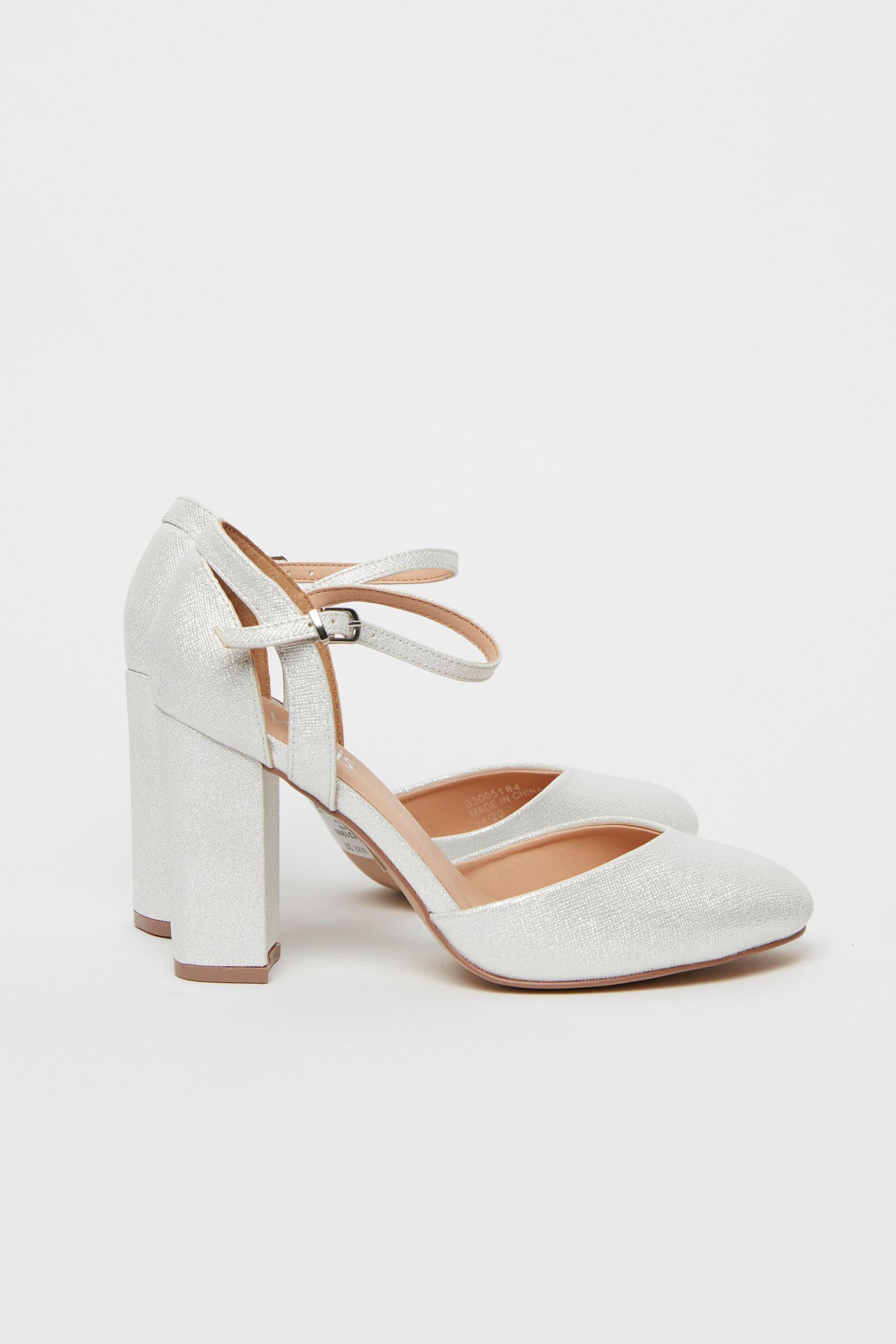 White Round Toe Block Heel