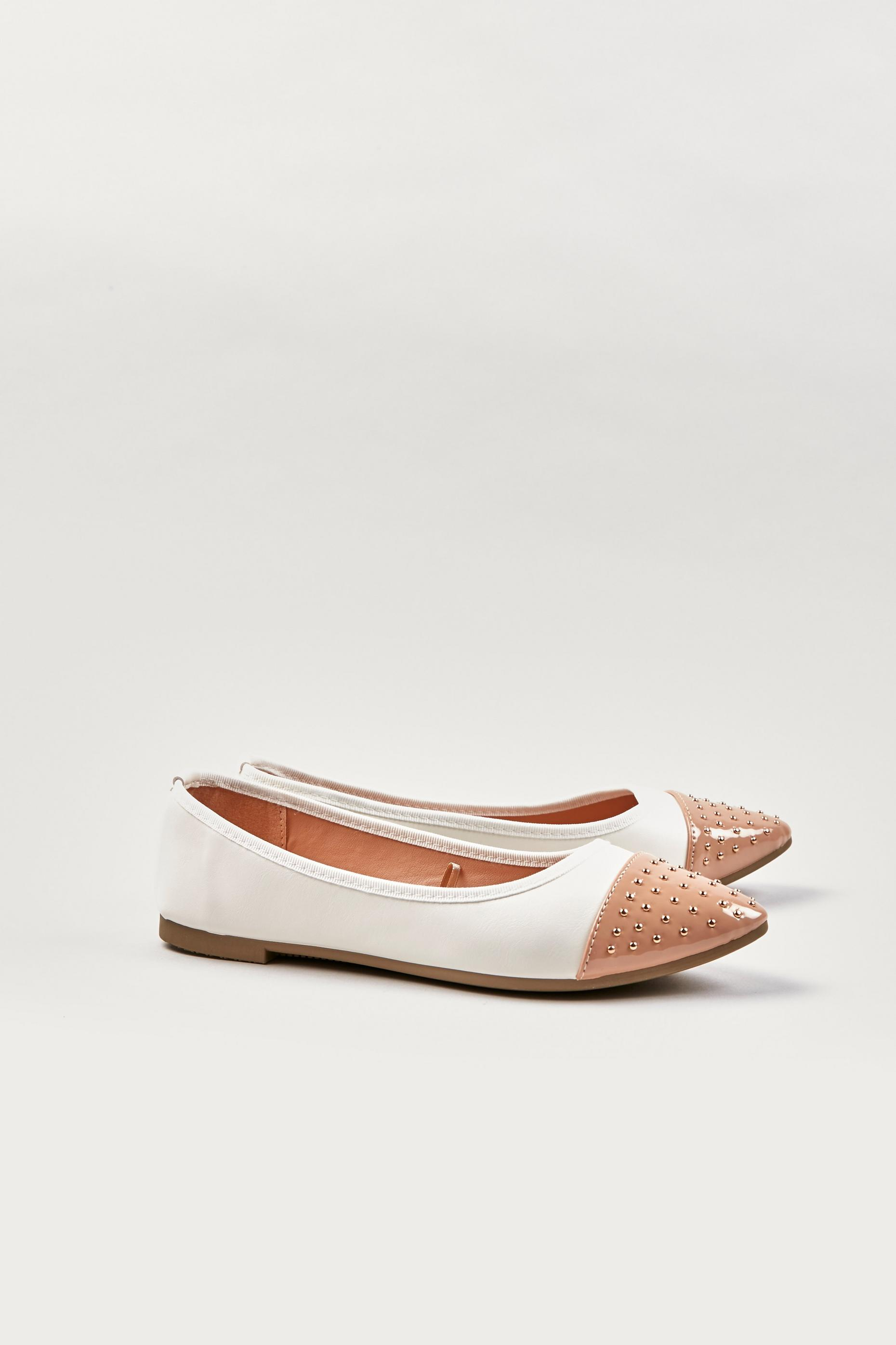 Cream Studded Pointed Ballet Pump