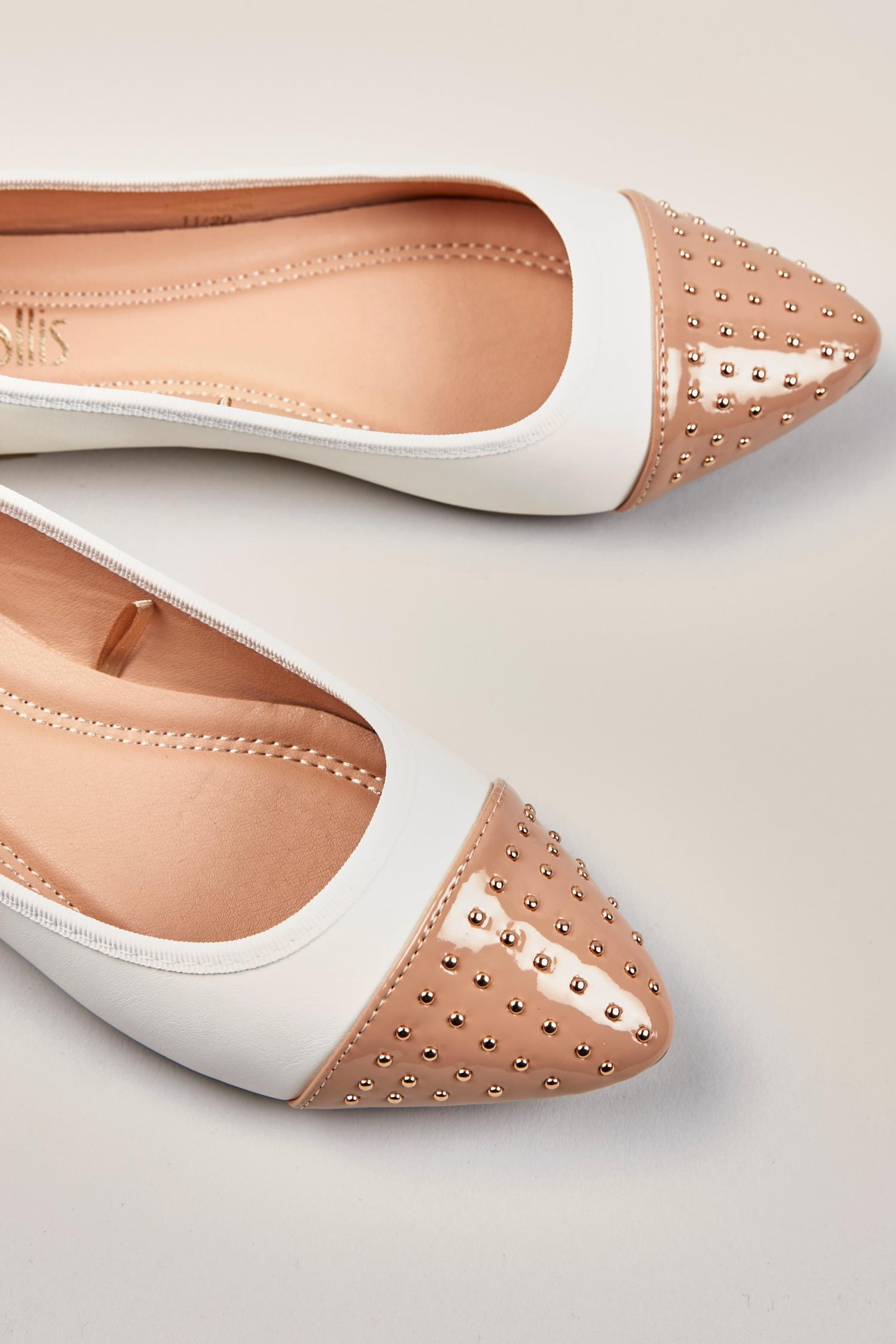 123 Cream Studded Pointed Ballet Pump image number 2