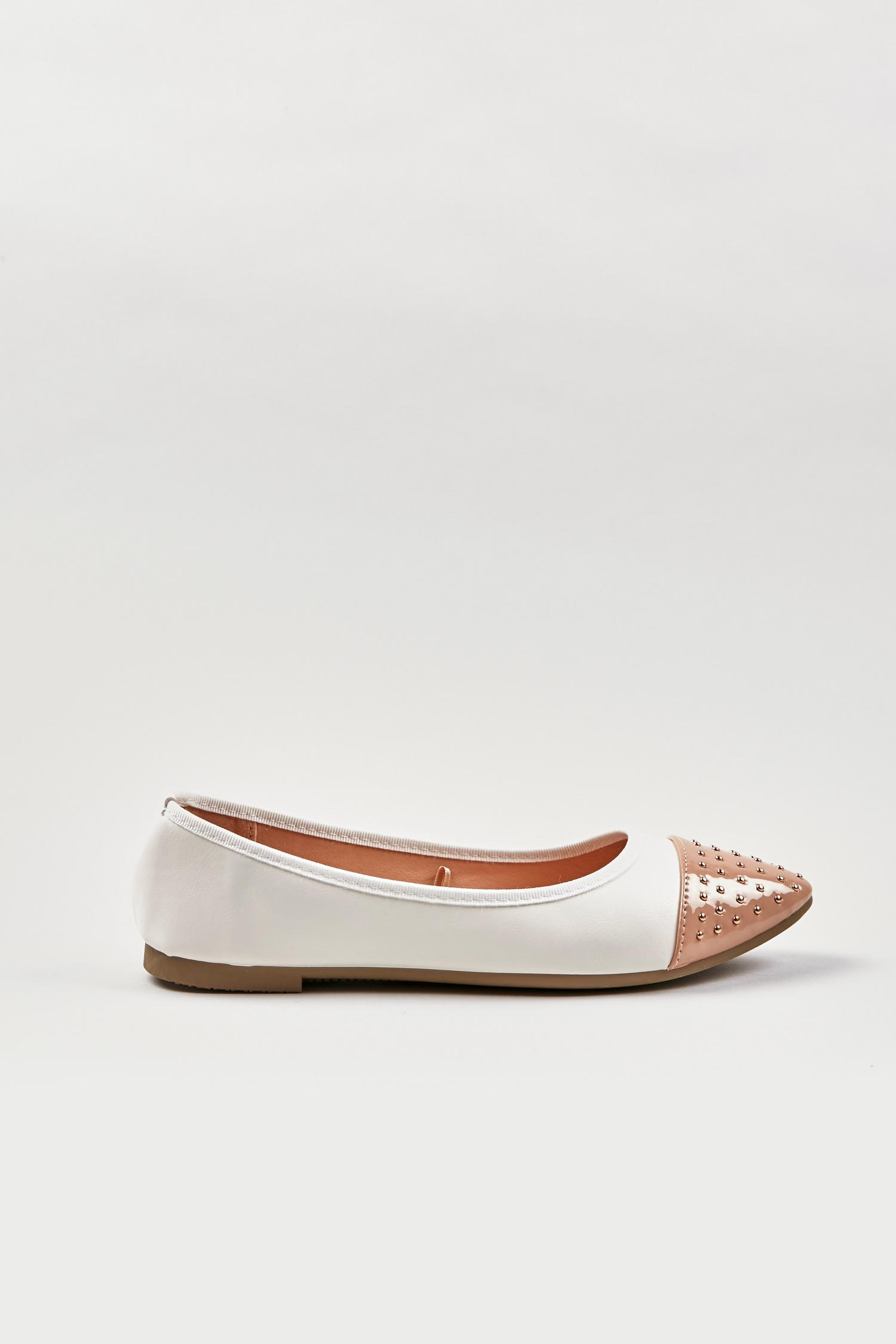 123 Cream Studded Pointed Ballet Pump image number 3