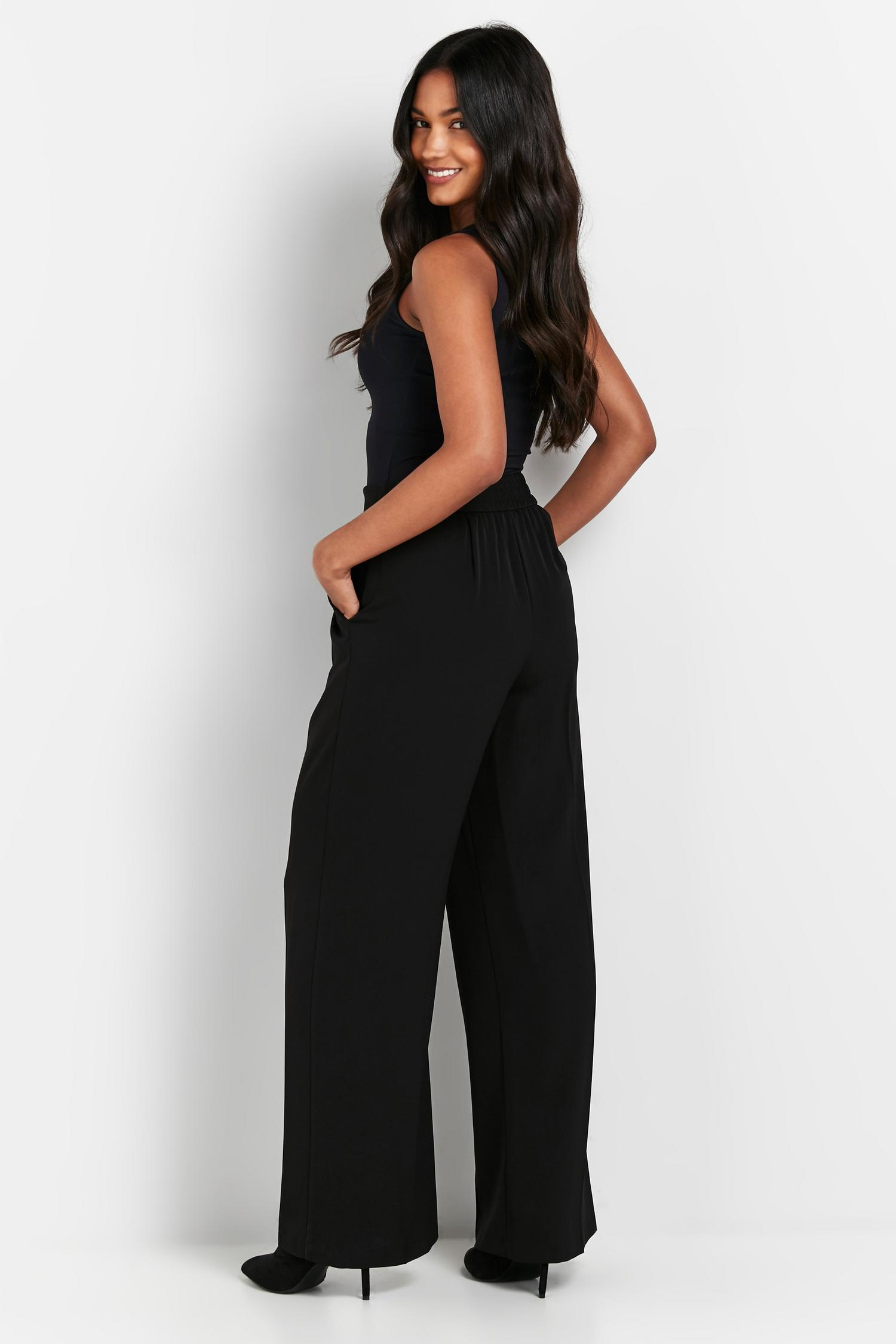 105 PETITE Black Jersey Wide Leg Trouser image number 2