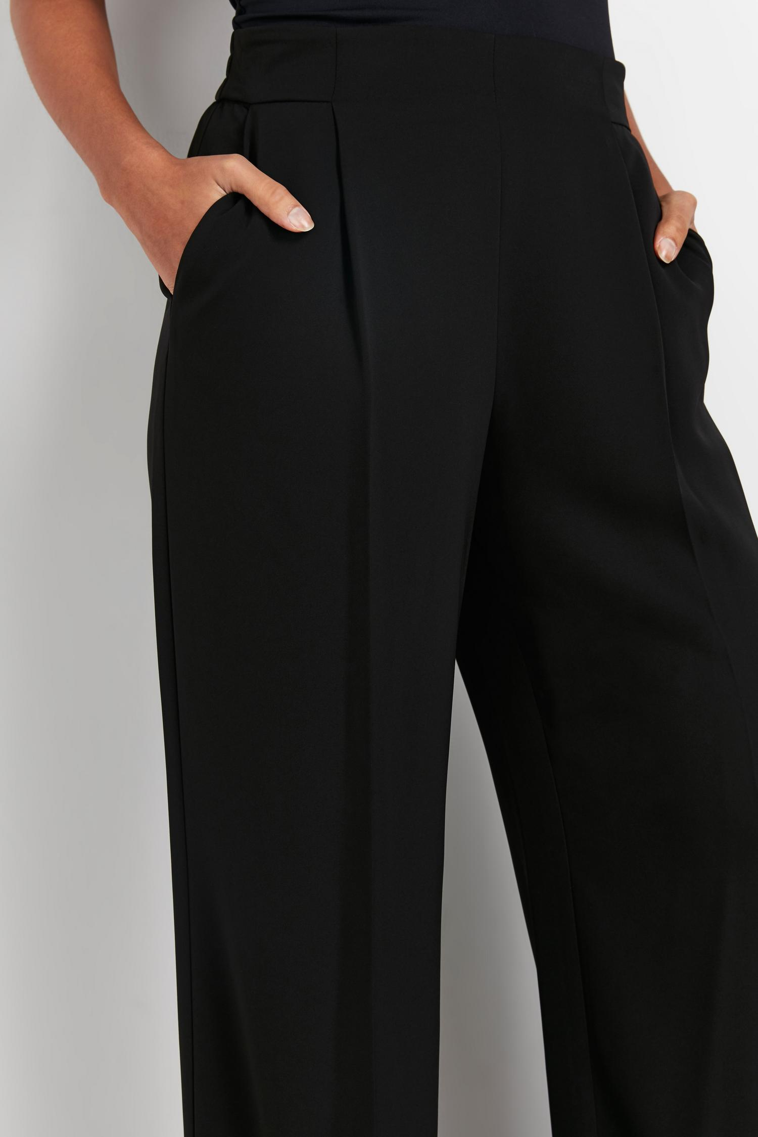 105 PETITE Black Jersey Wide Leg Trouser image number 3