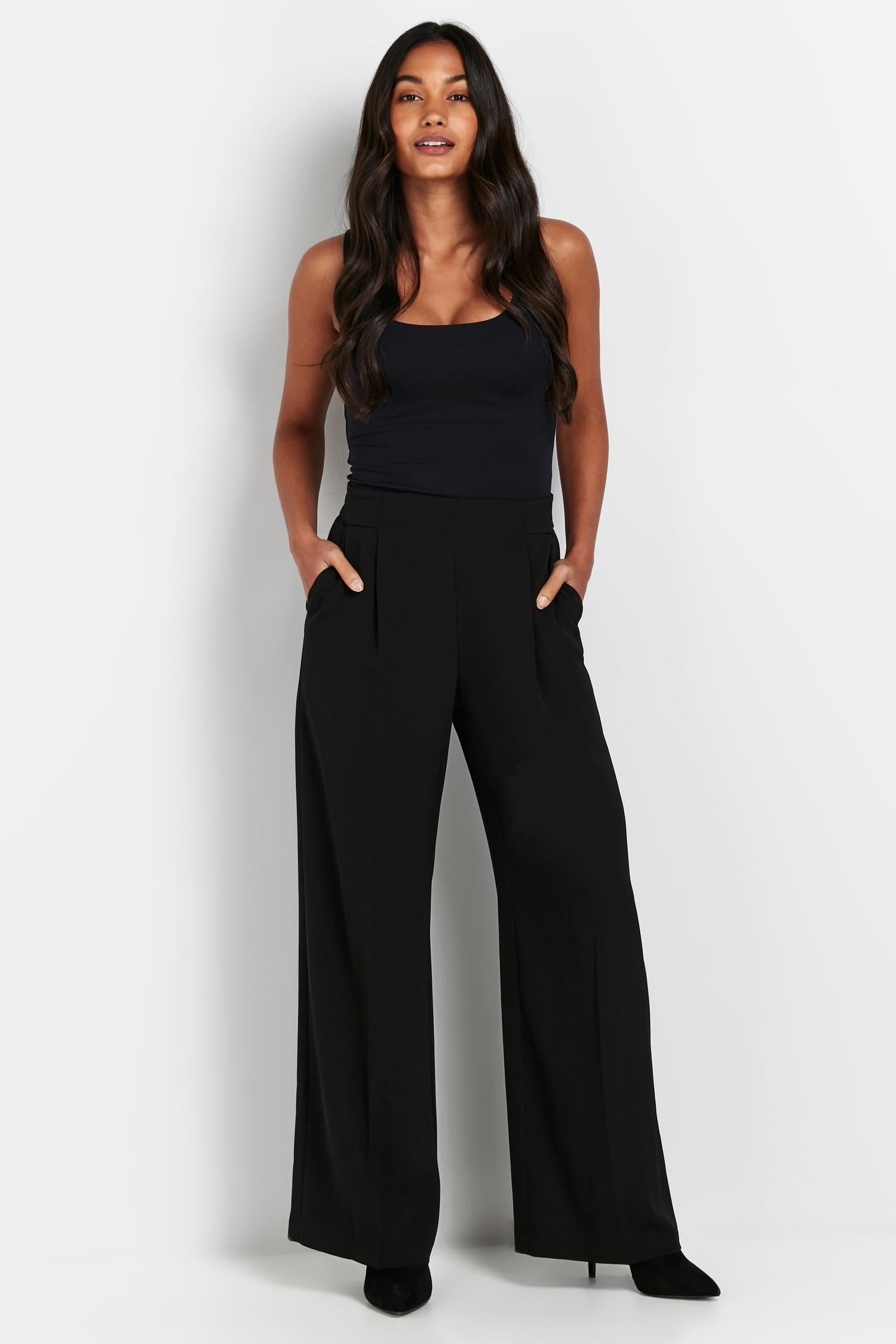 105 PETITE Black Jersey Wide Leg Trouser image number 4