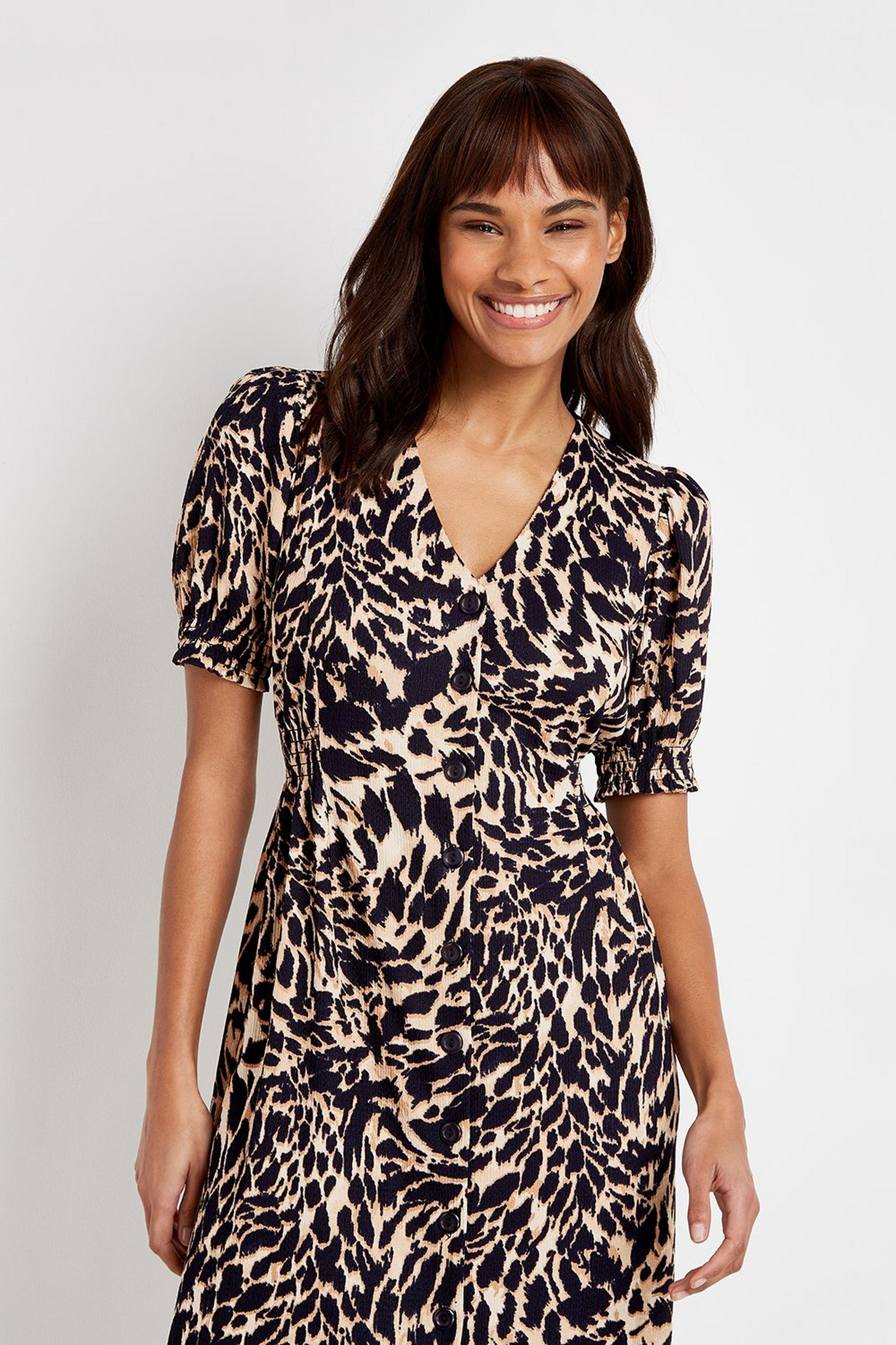 TALL Brown Animal Print Midi Dress