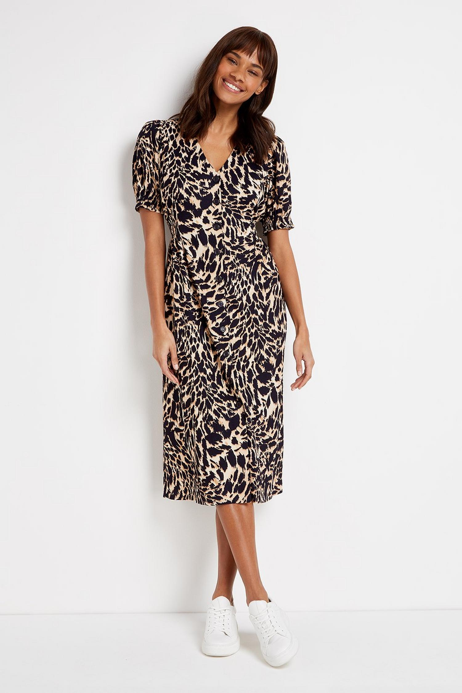 109 TALL Brown Animal Print Midi Dress image number 3