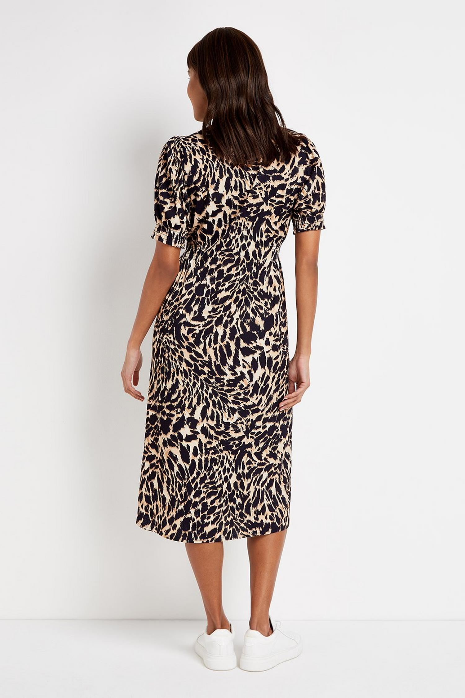 109 TALL Brown Animal Print Midi Dress image number 4