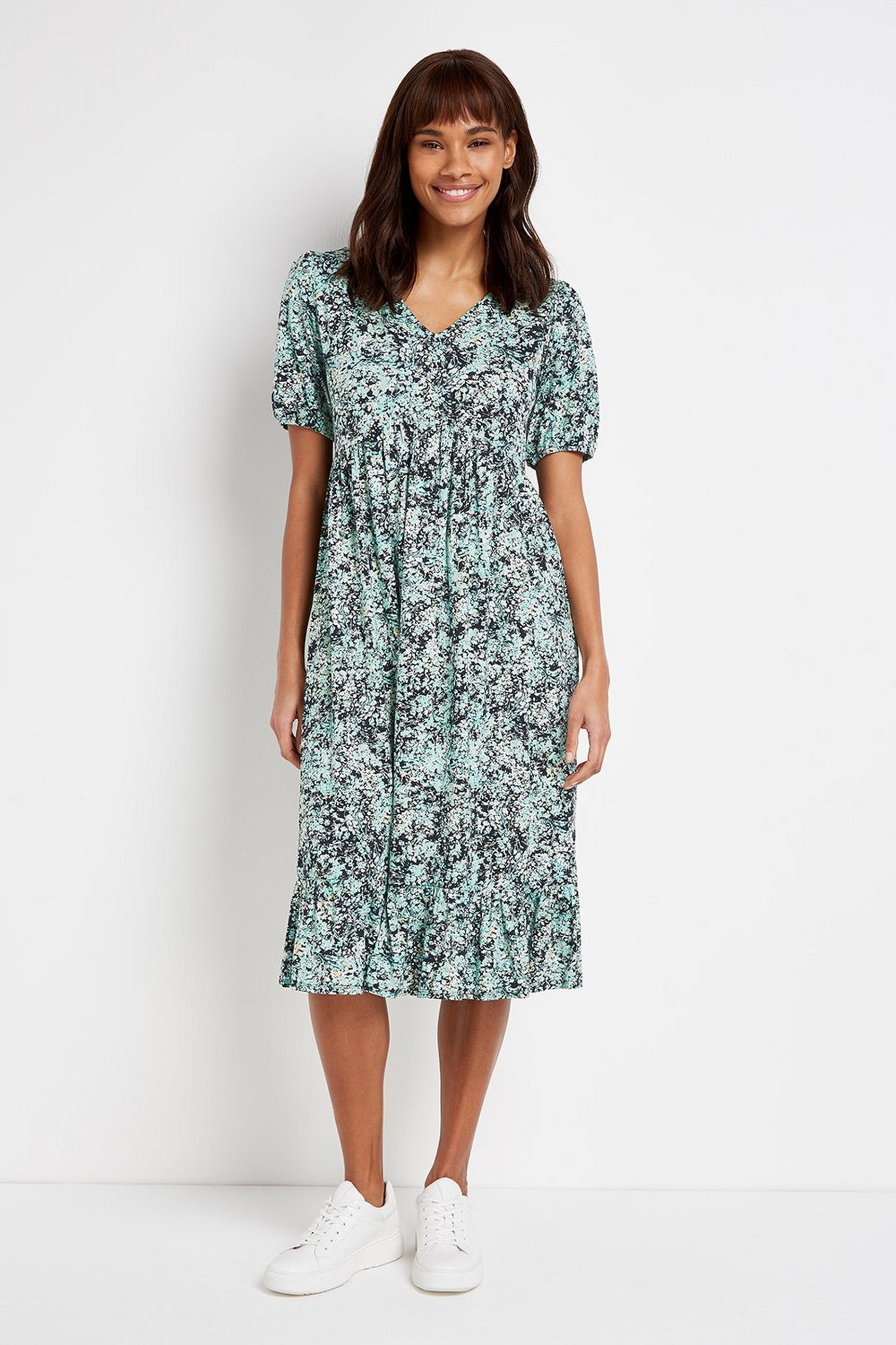 PETITE Blue Floral Print Midi Dress