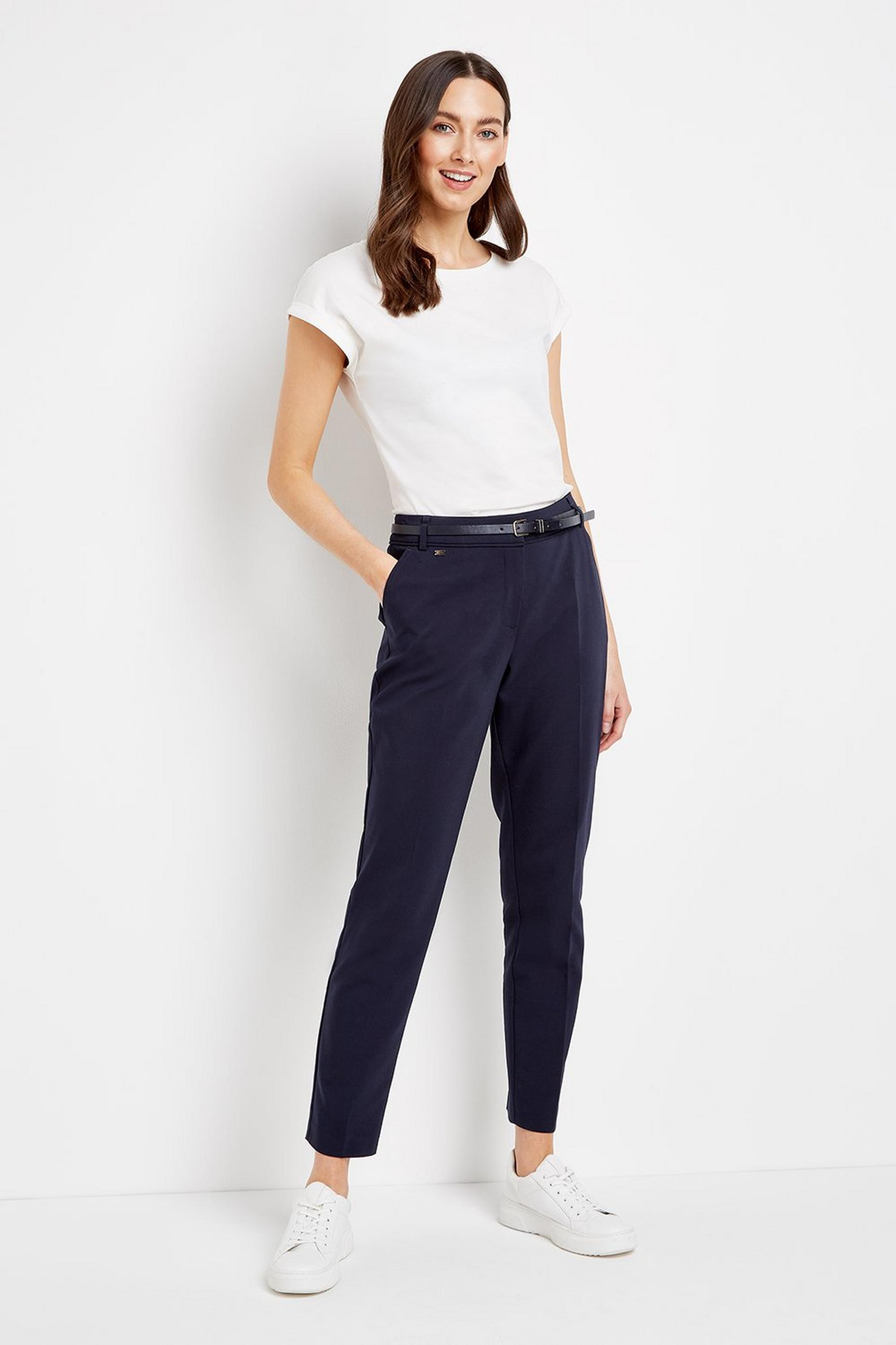 TALL Navy Belted Cigarette Trouser