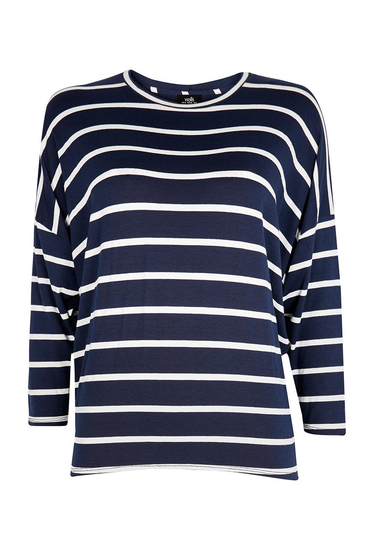 148 TALL Navy Striped Batwing Top image number 2