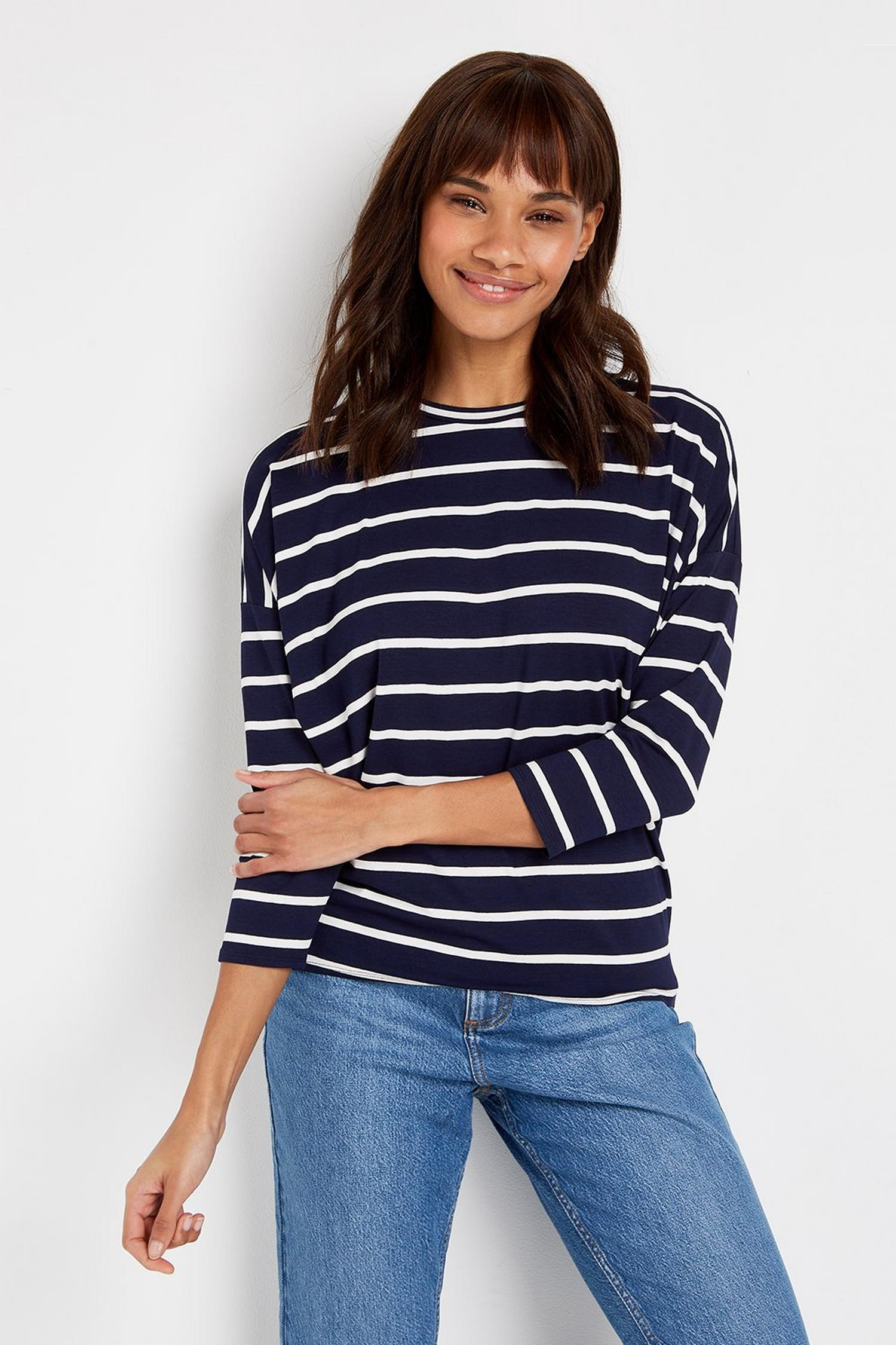 148 TALL Navy Striped Batwing Top image number 3