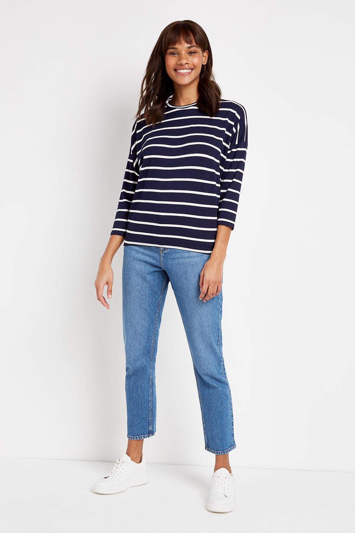 148 TALL Navy Striped Batwing Top image number 4