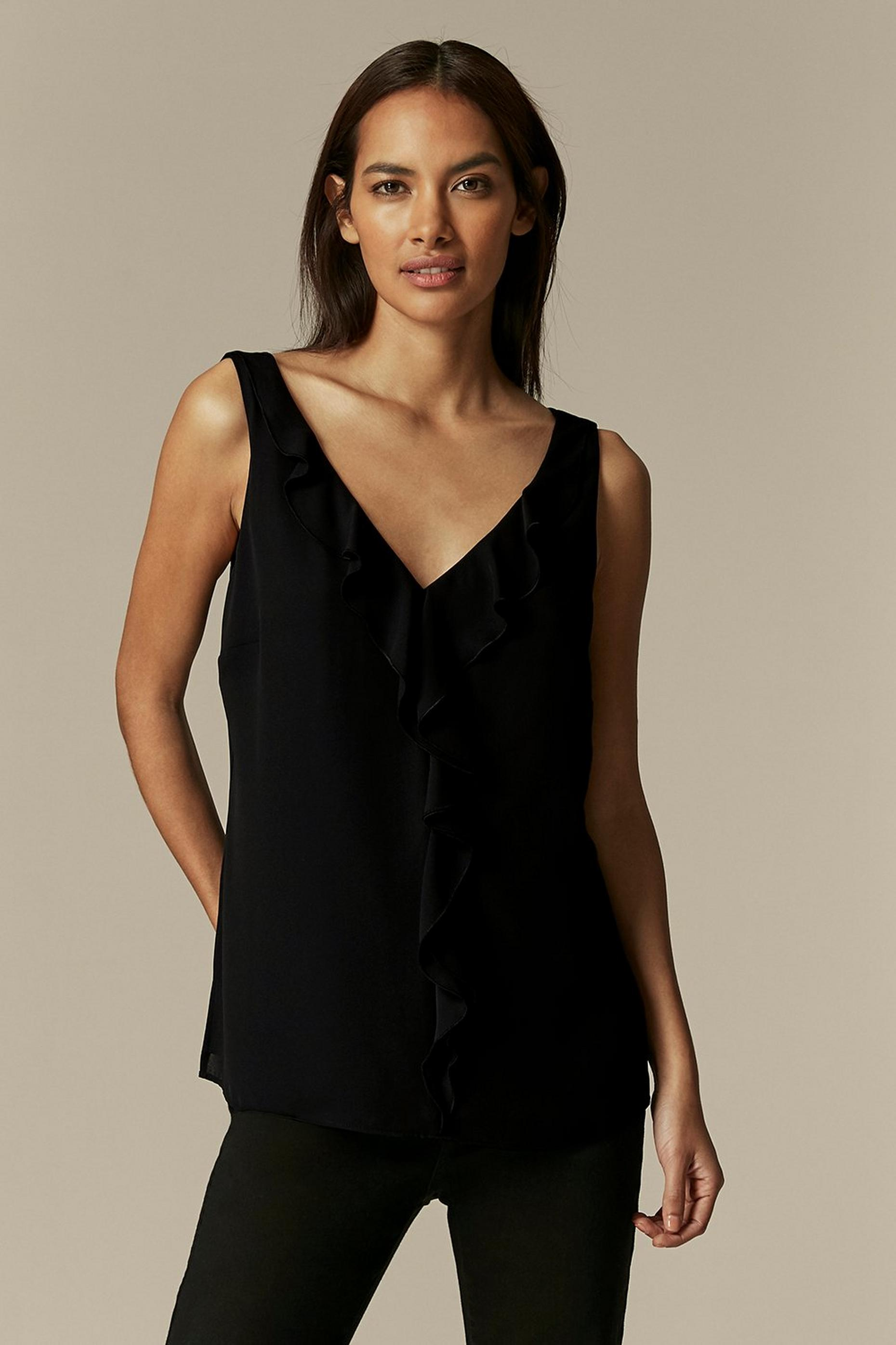 PETITE Black Ruffle Front Camisole Top
