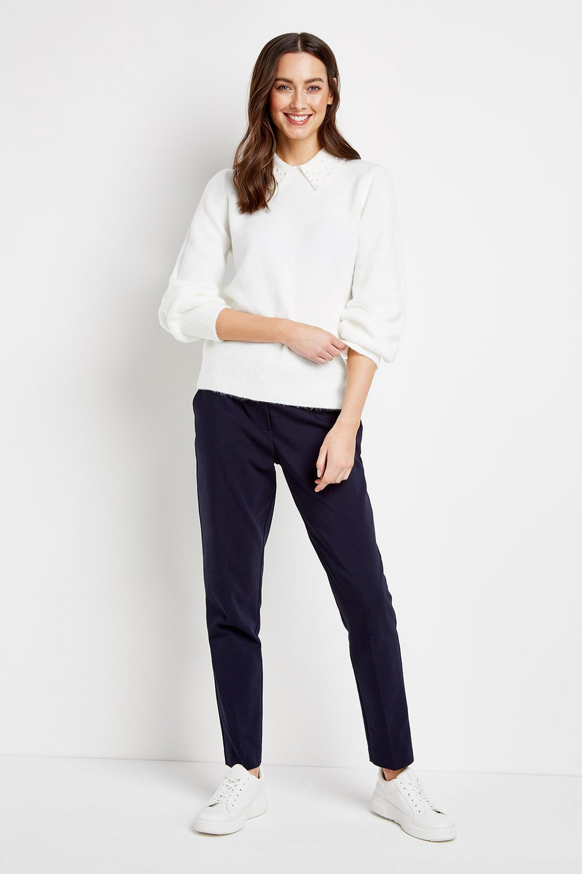 PETITE Navy Belted Cigarette Trousers