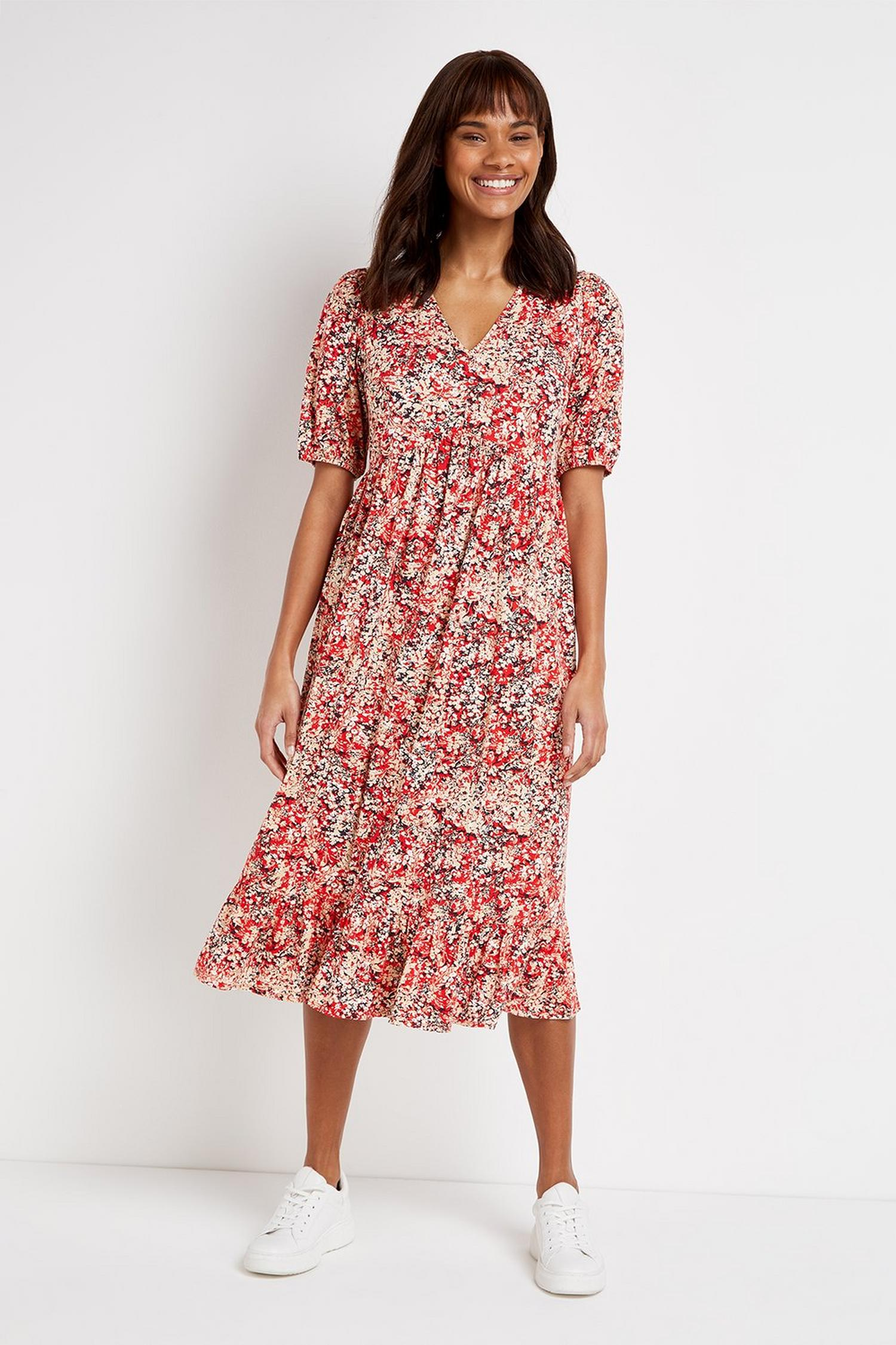 157 TALL Red Floral Print Midi Dress image number 1